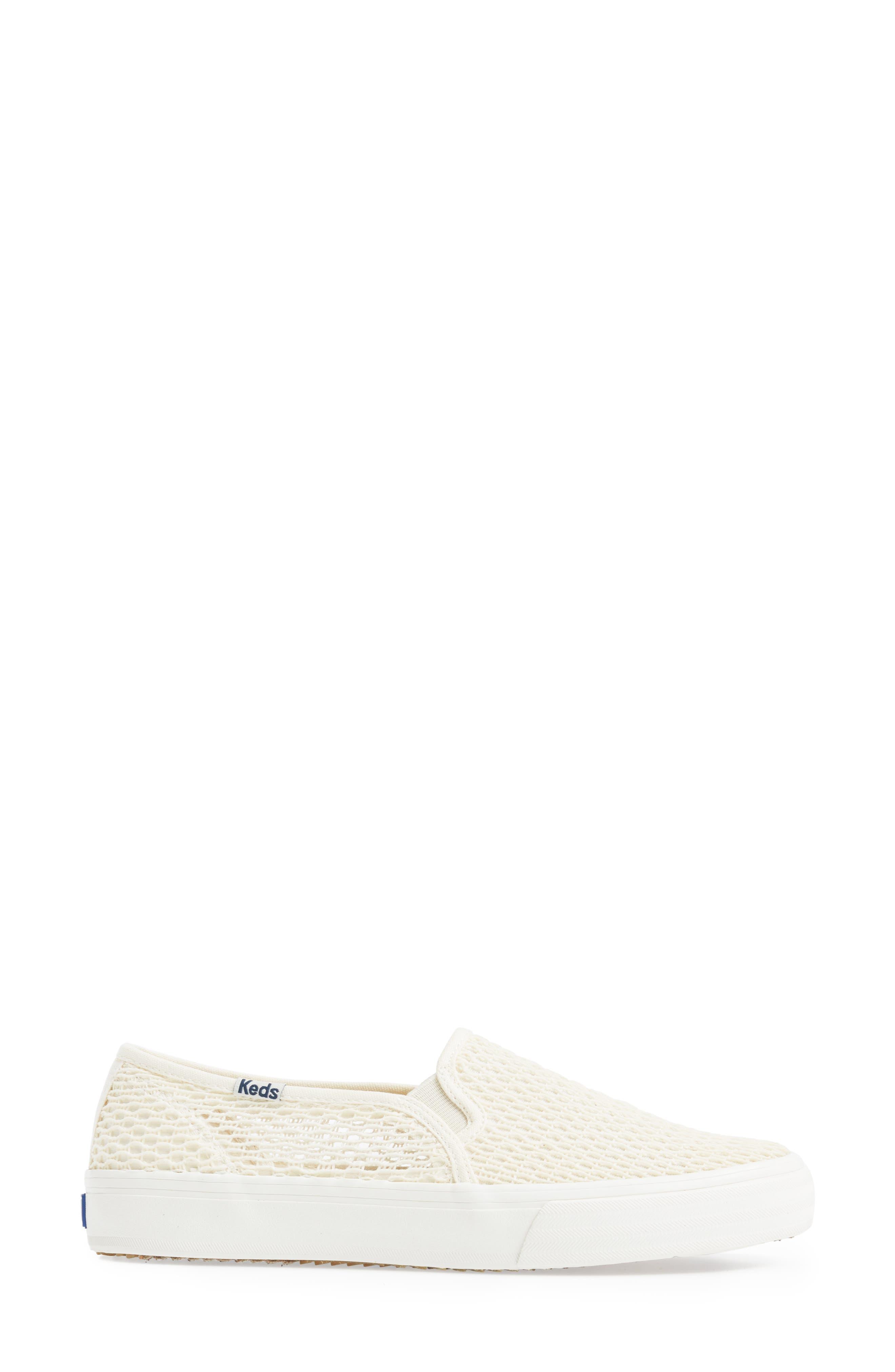 Double Decker Crochet Slip-On Sneaker,                             Alternate thumbnail 3, color,                             Cream