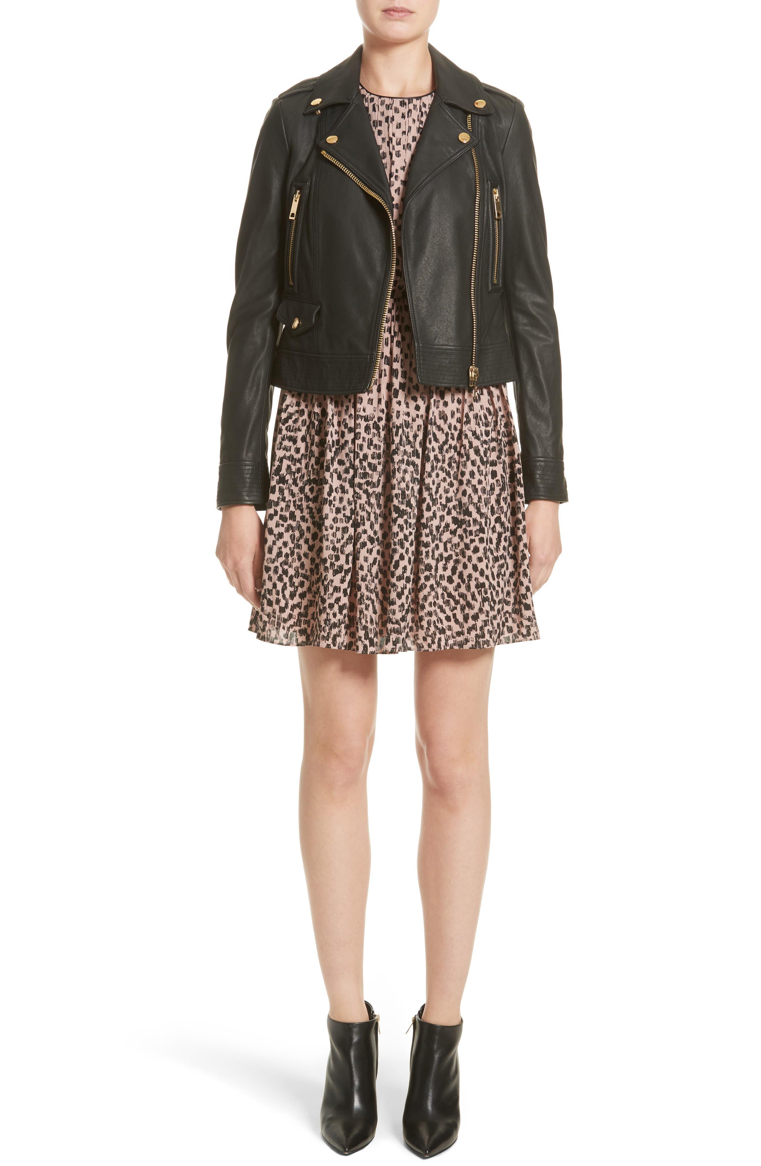 Karinkalt Leather Trim Print Dress,                             Alternate thumbnail 7, color,                             Pale Pink