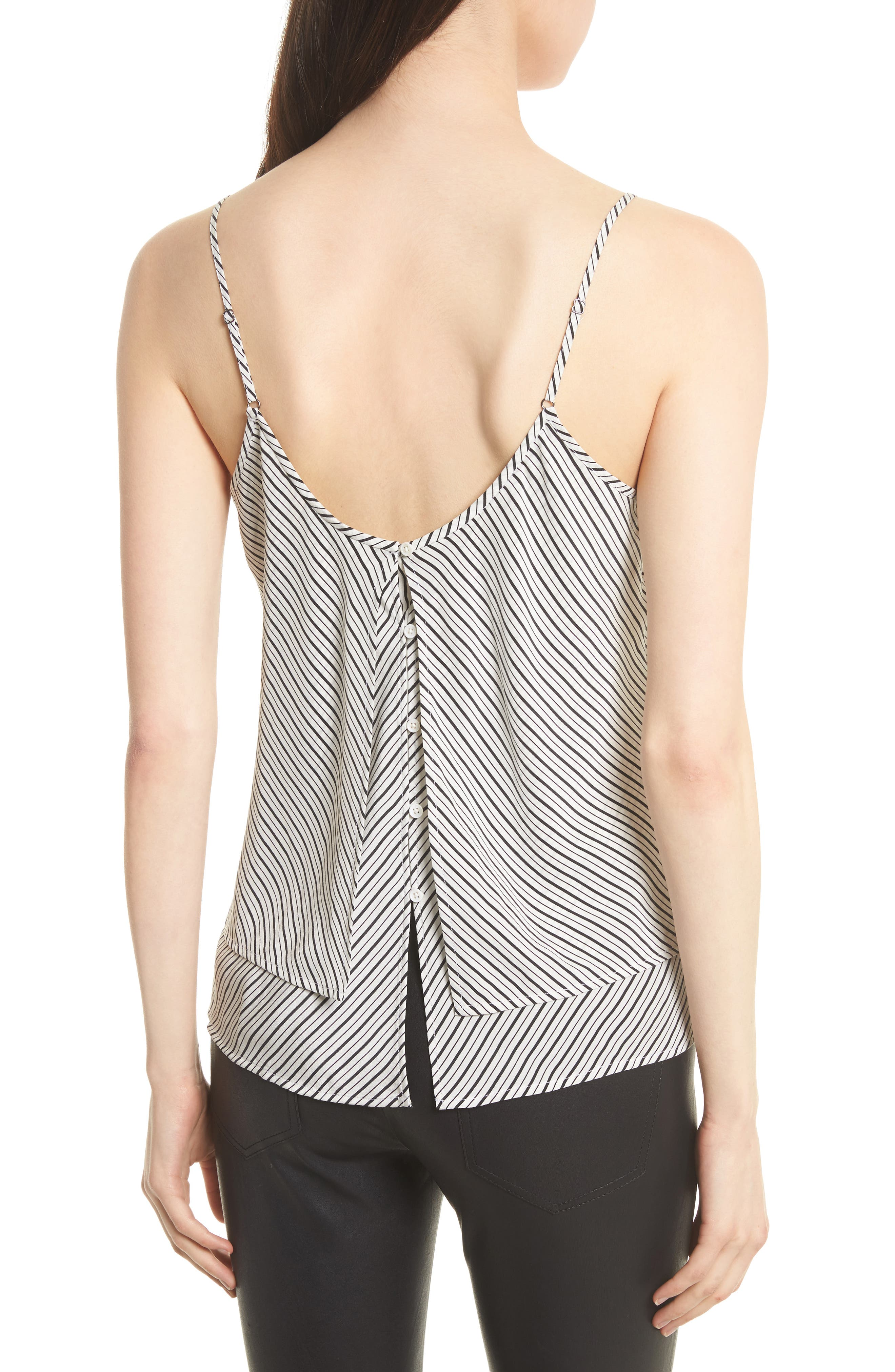 Islaya Silk Tank,                             Alternate thumbnail 2, color,                             Porcelain/ Caviar
