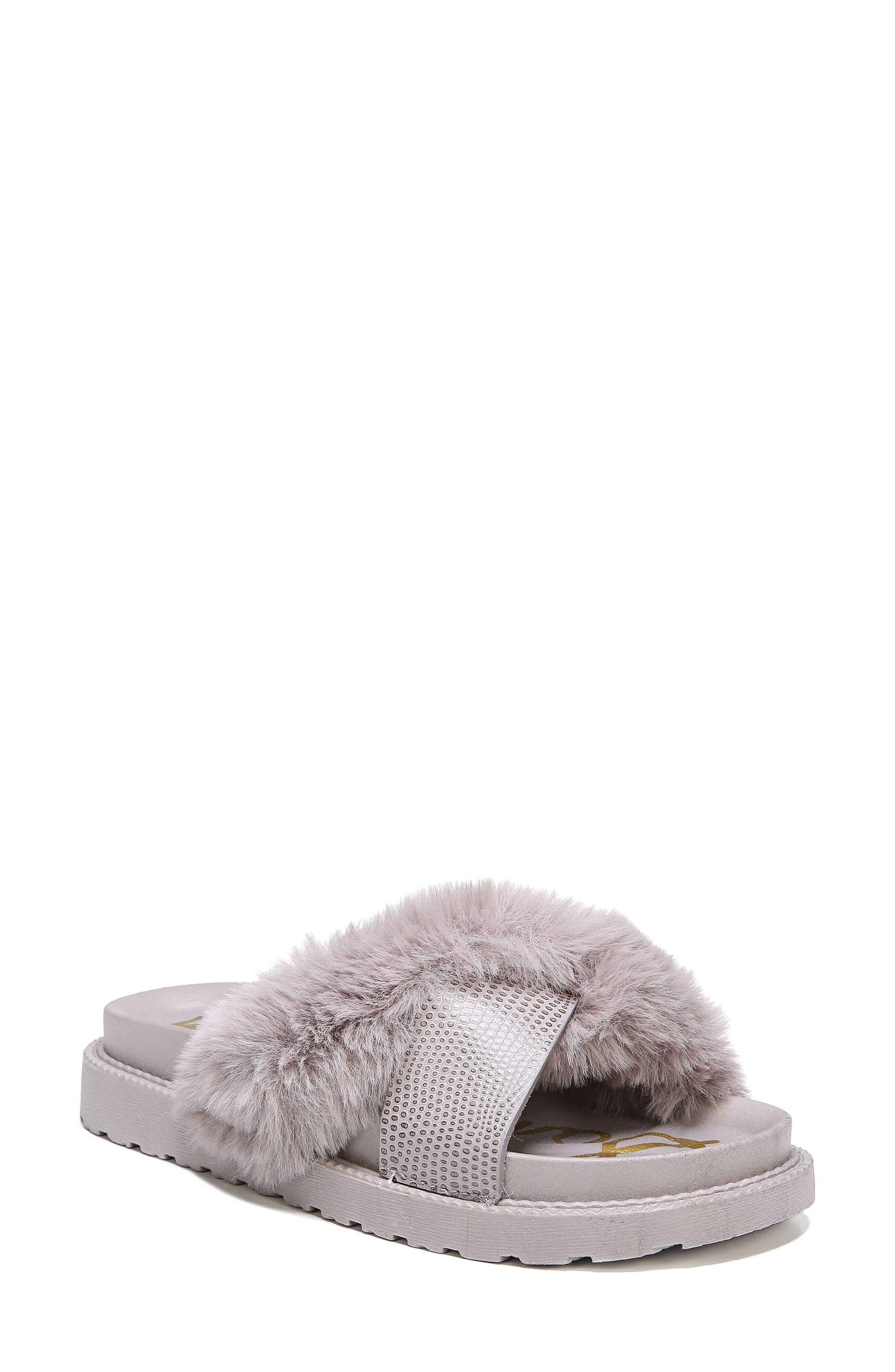 SAM EDELMAN Bianca Faux Fur Cross Strap Sandal