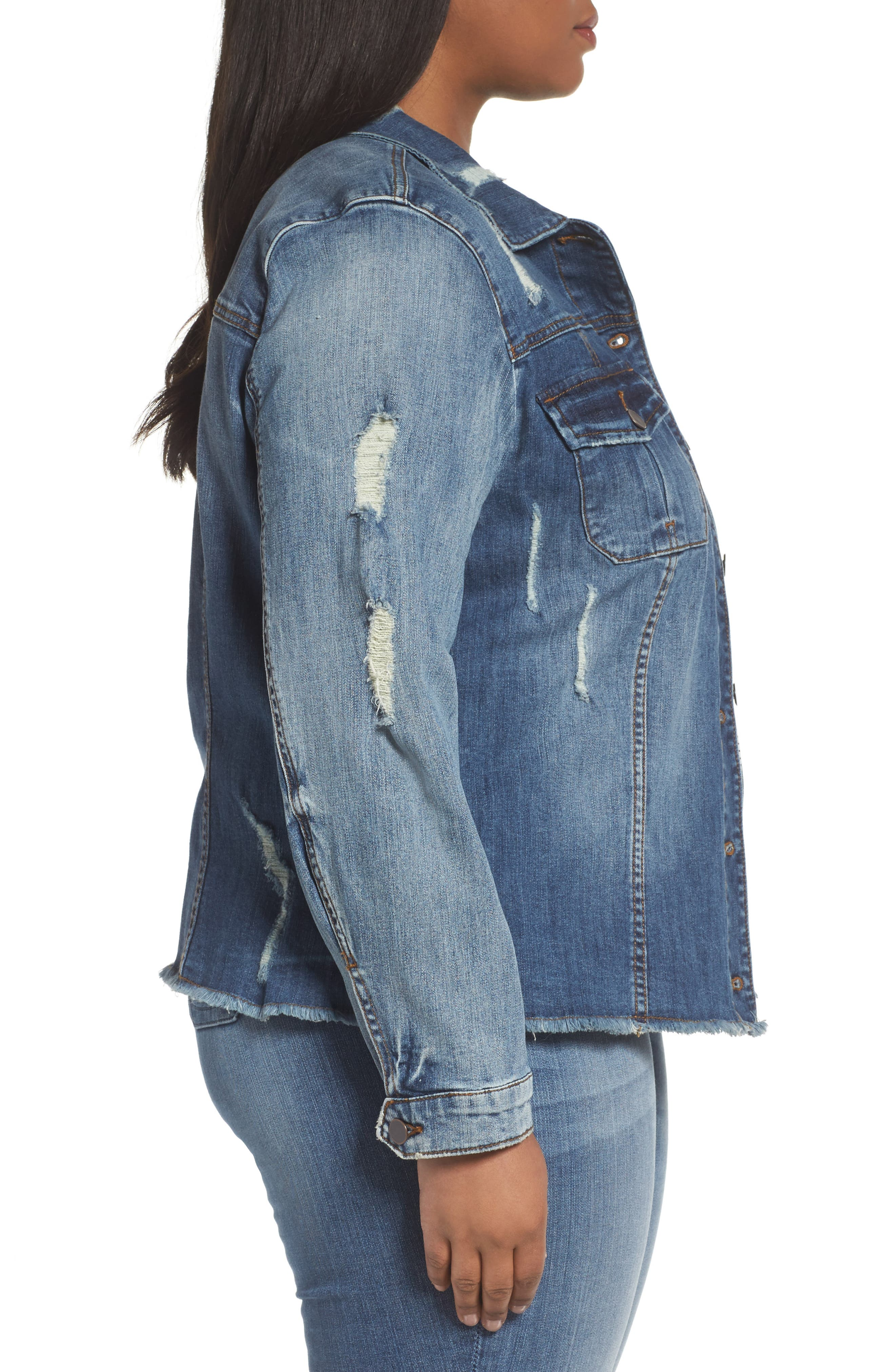 Distressed Denim Jacket,                             Alternate thumbnail 3, color,                             Astral