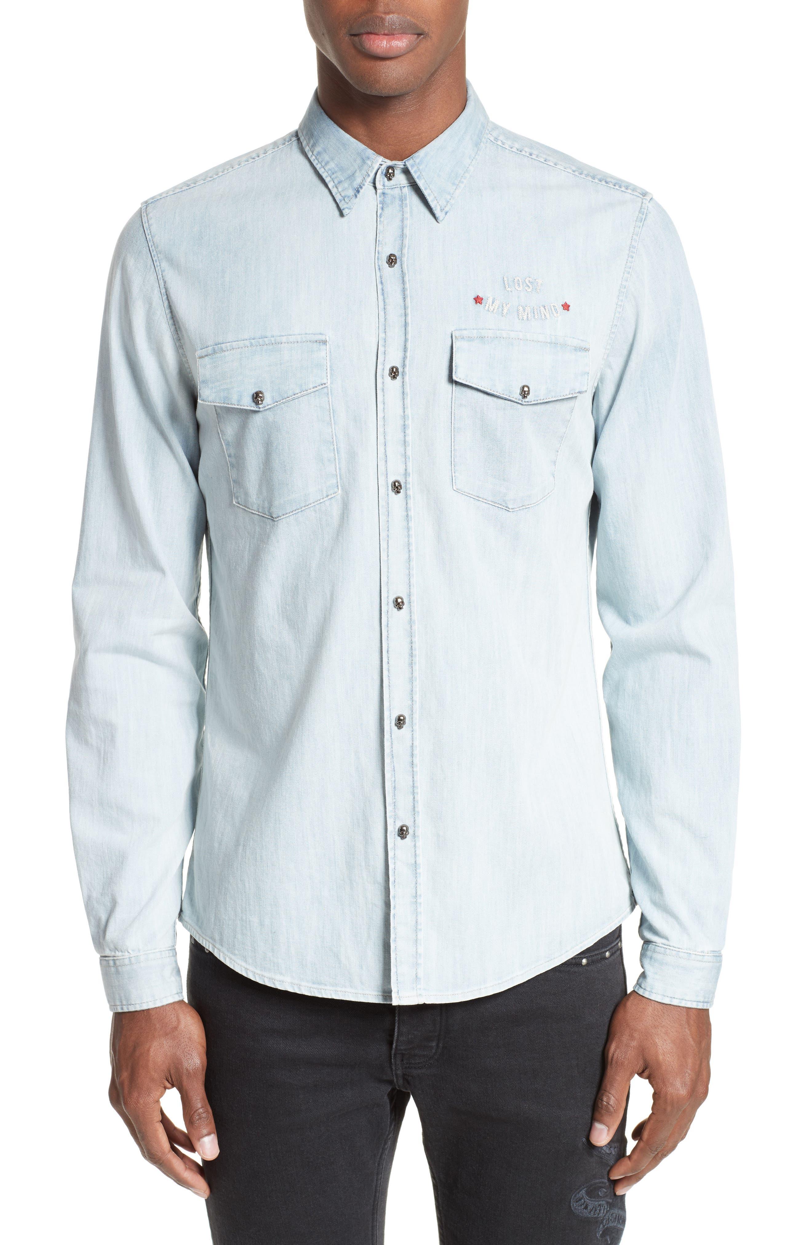 Main Image - The Kooples Embroidered Denim Shirt