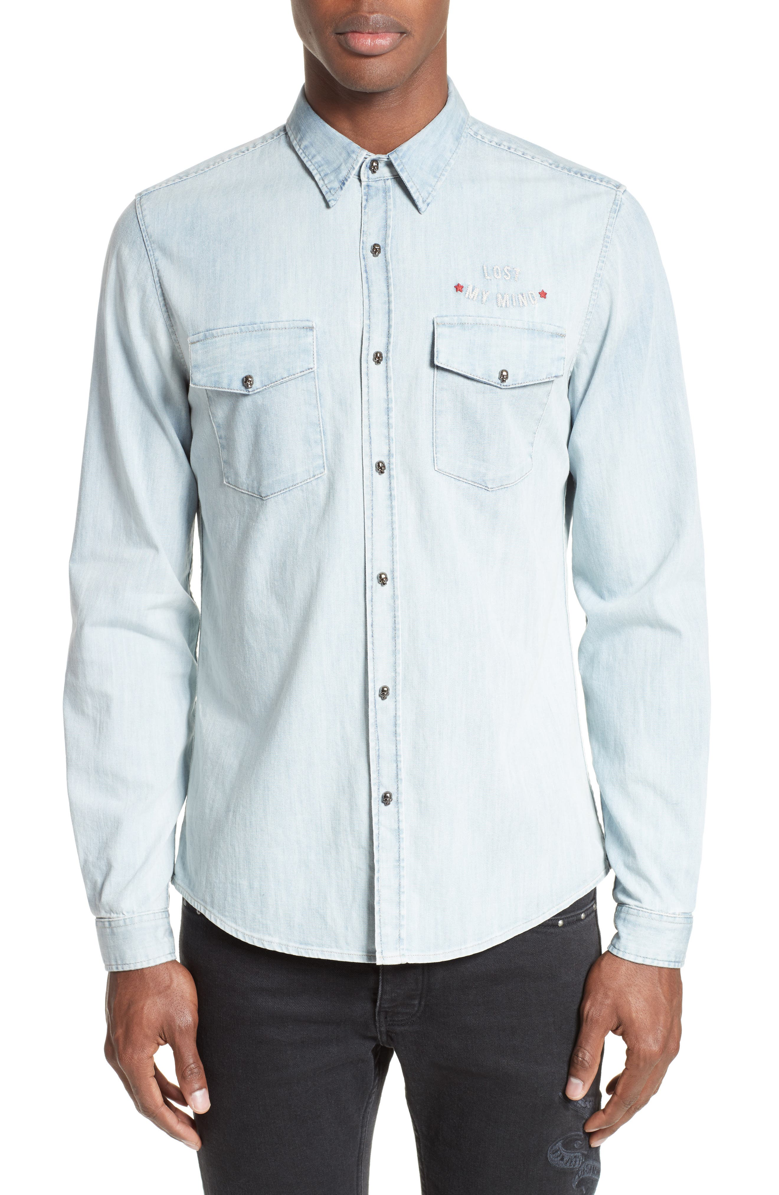 Embroidered Denim Shirt,                         Main,                         color, Blue
