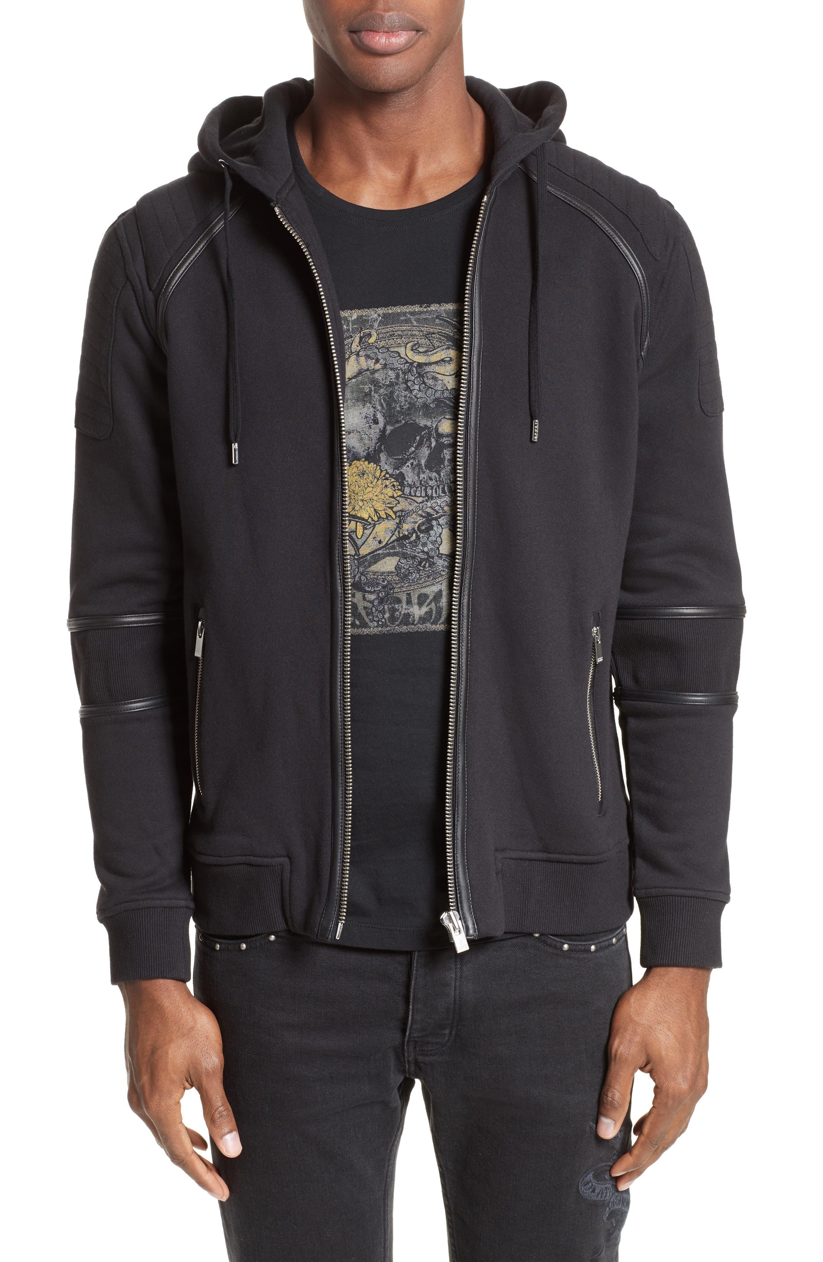 Zip Front Hoodie,                         Main,                         color, Black