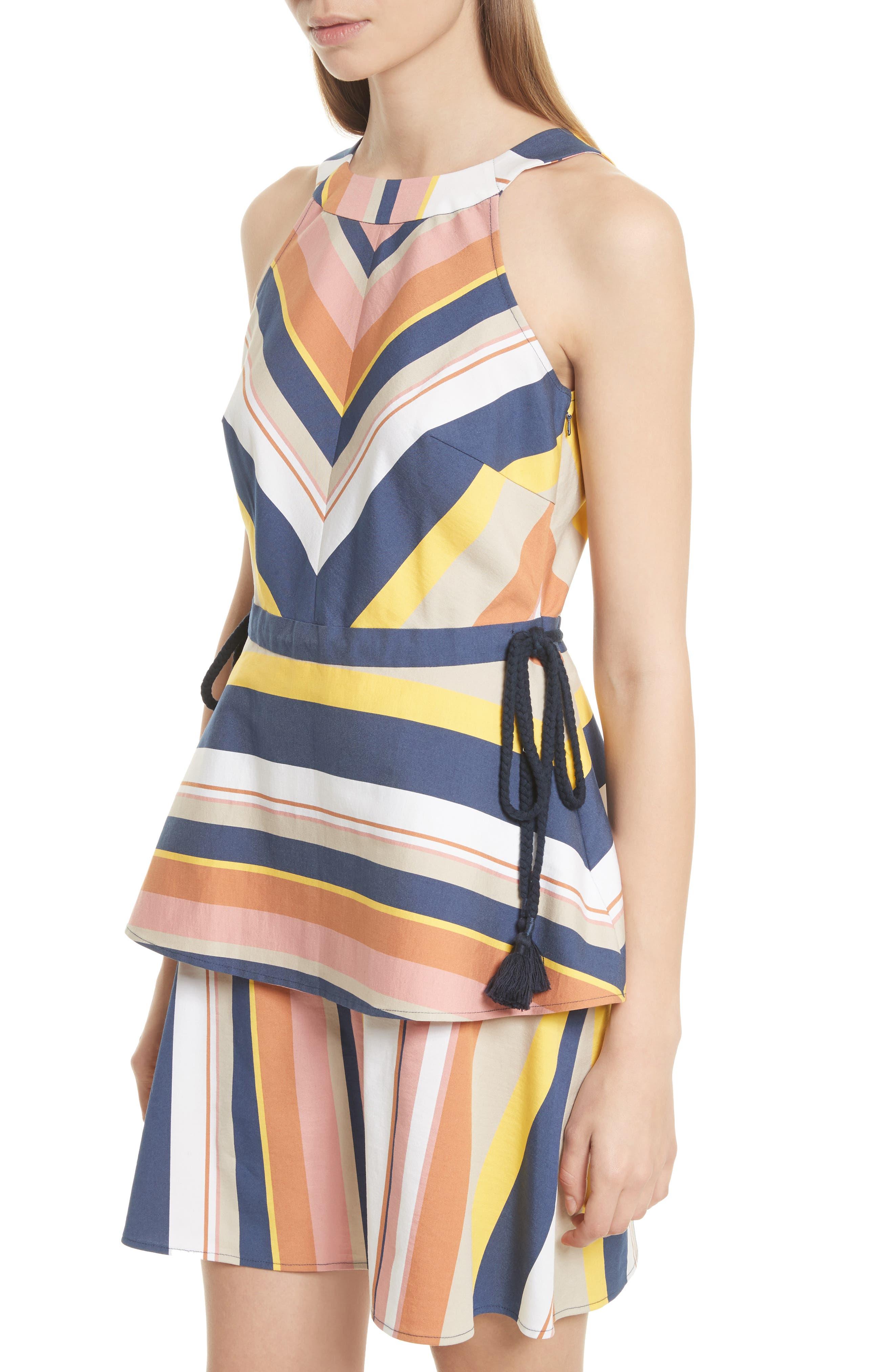 Noemi Stripe Dress,                             Alternate thumbnail 4, color,                             Rust Multi