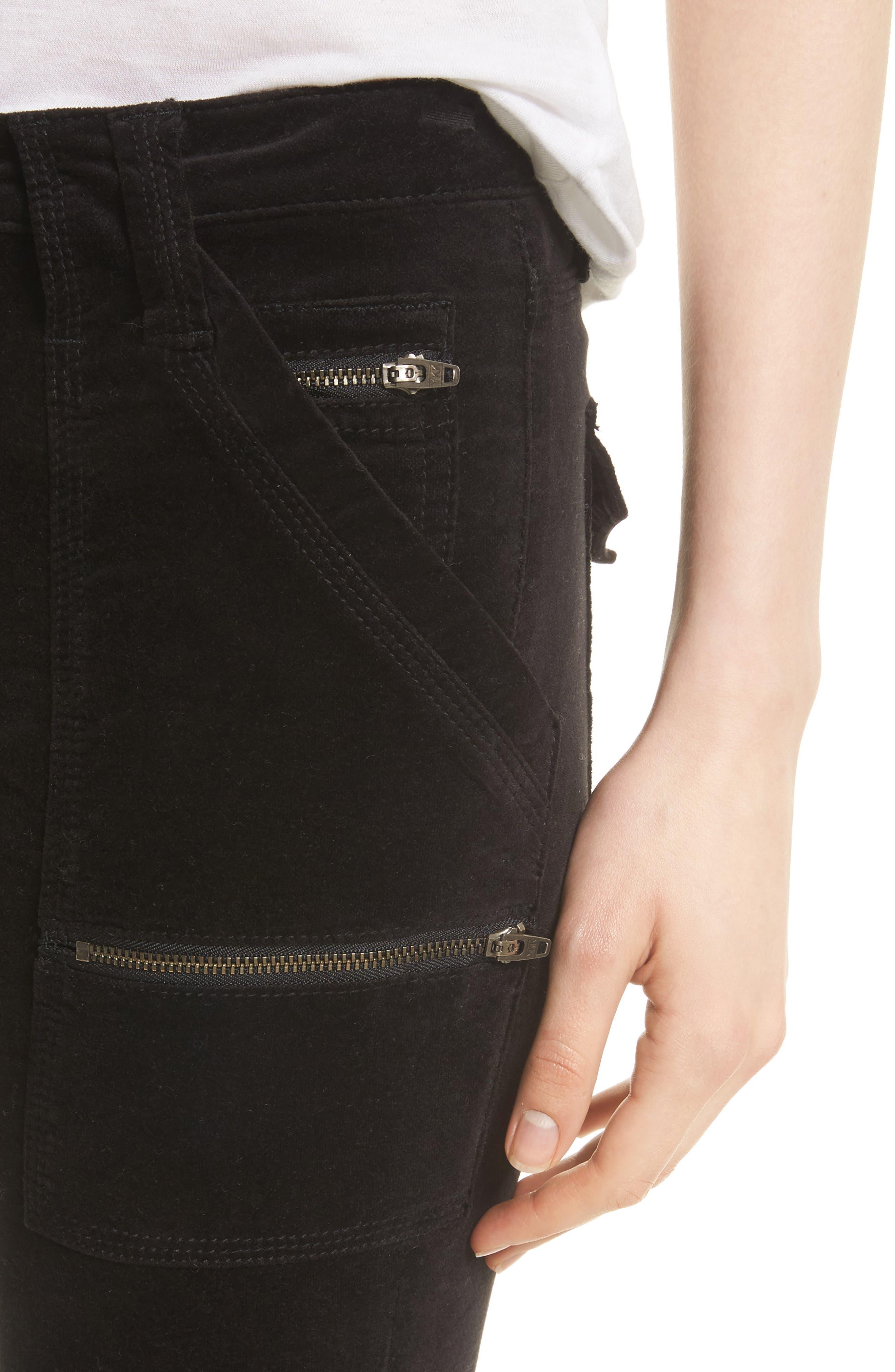 Park Stretch Cotton Skinny Pants,                             Alternate thumbnail 4, color,                             Caviar