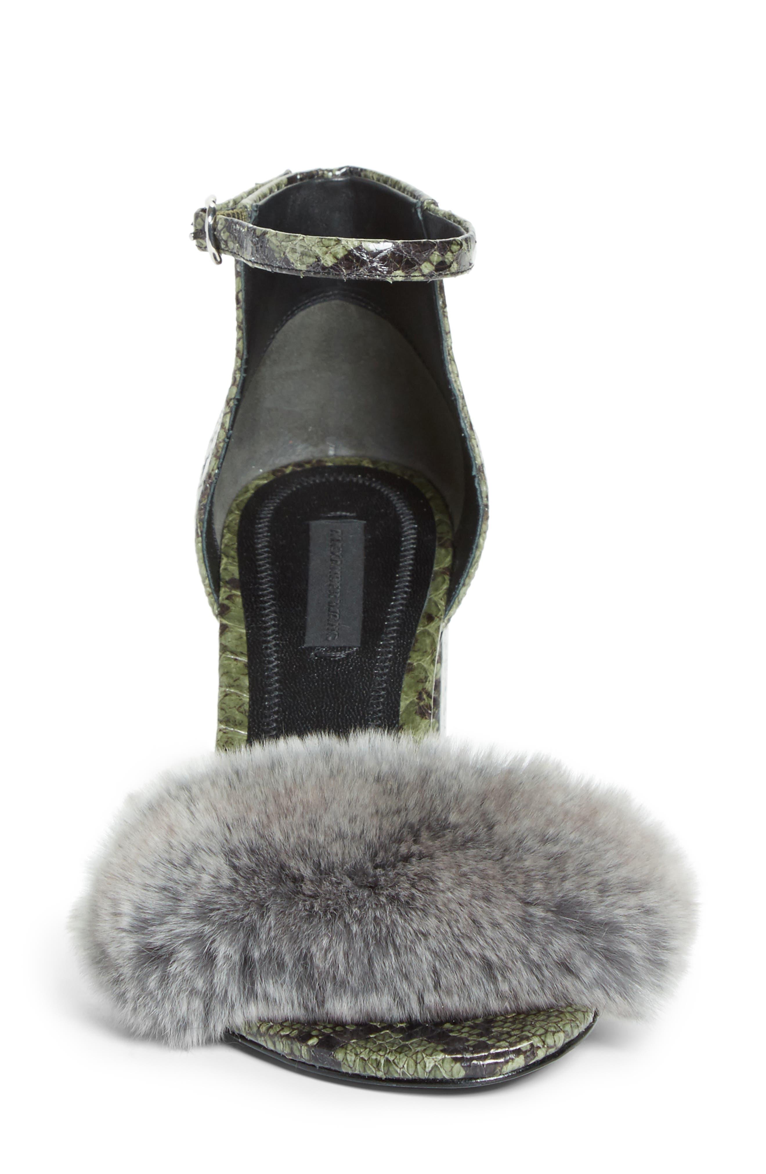 Abby Genuine Rabbit Fur & Snakeskin Sandal,                             Alternate thumbnail 4, color,                             Army