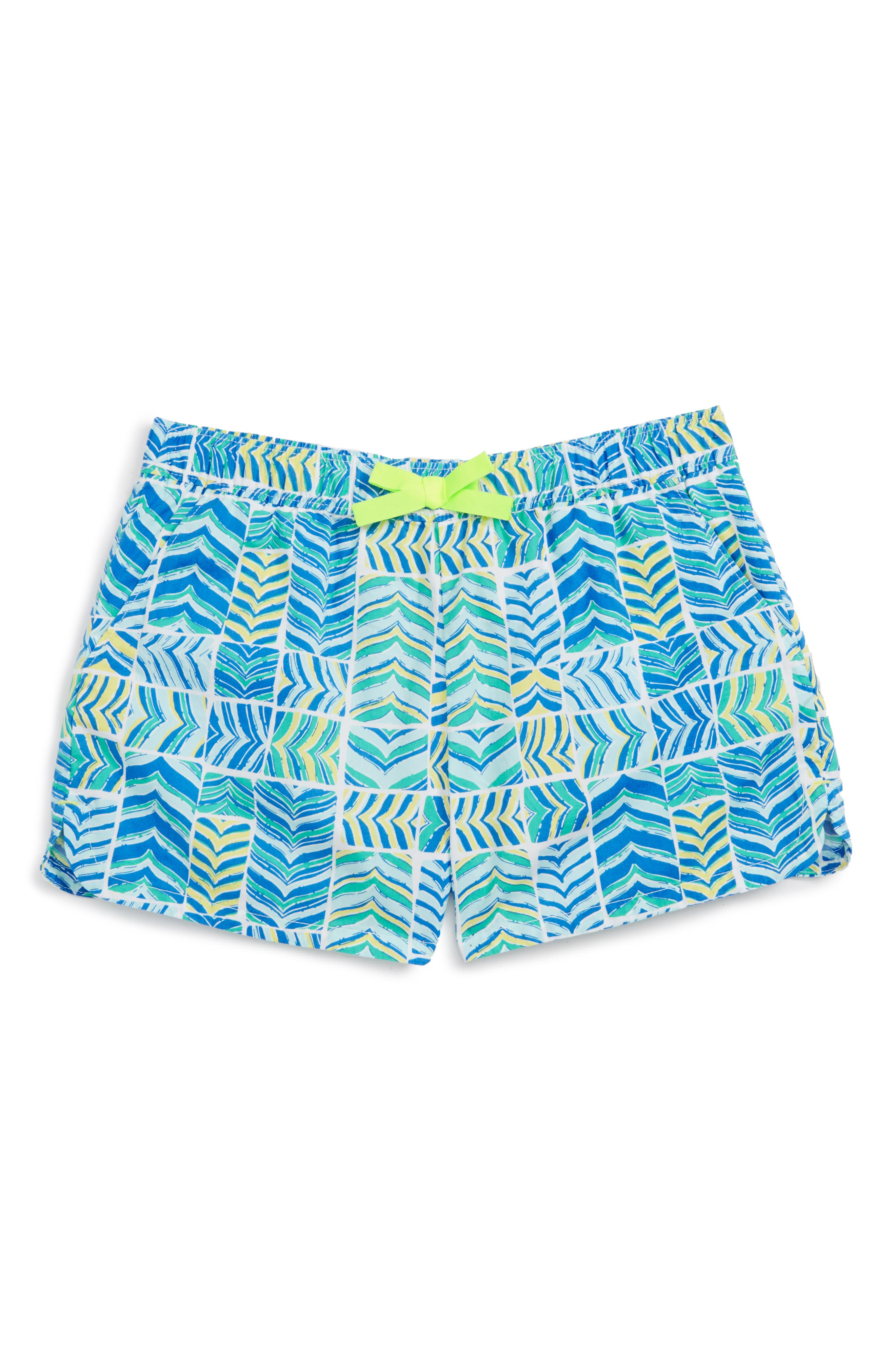 Whaletail Patchwork Shorts,                             Main thumbnail 1, color,                             Azure Blue