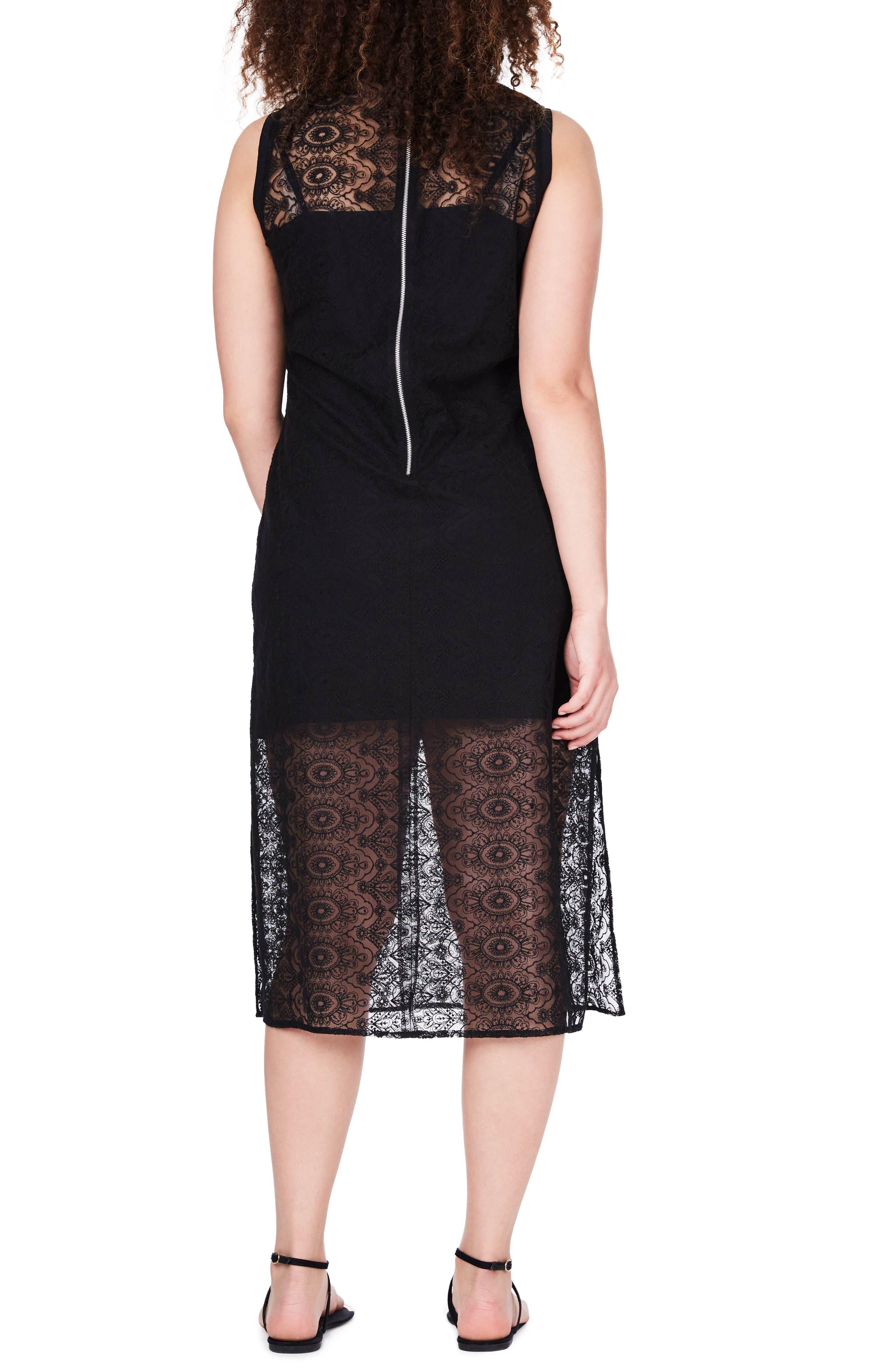 Alternate Image 2  - ELVI Embroidered Lace Tunic Dress (Plus Size)
