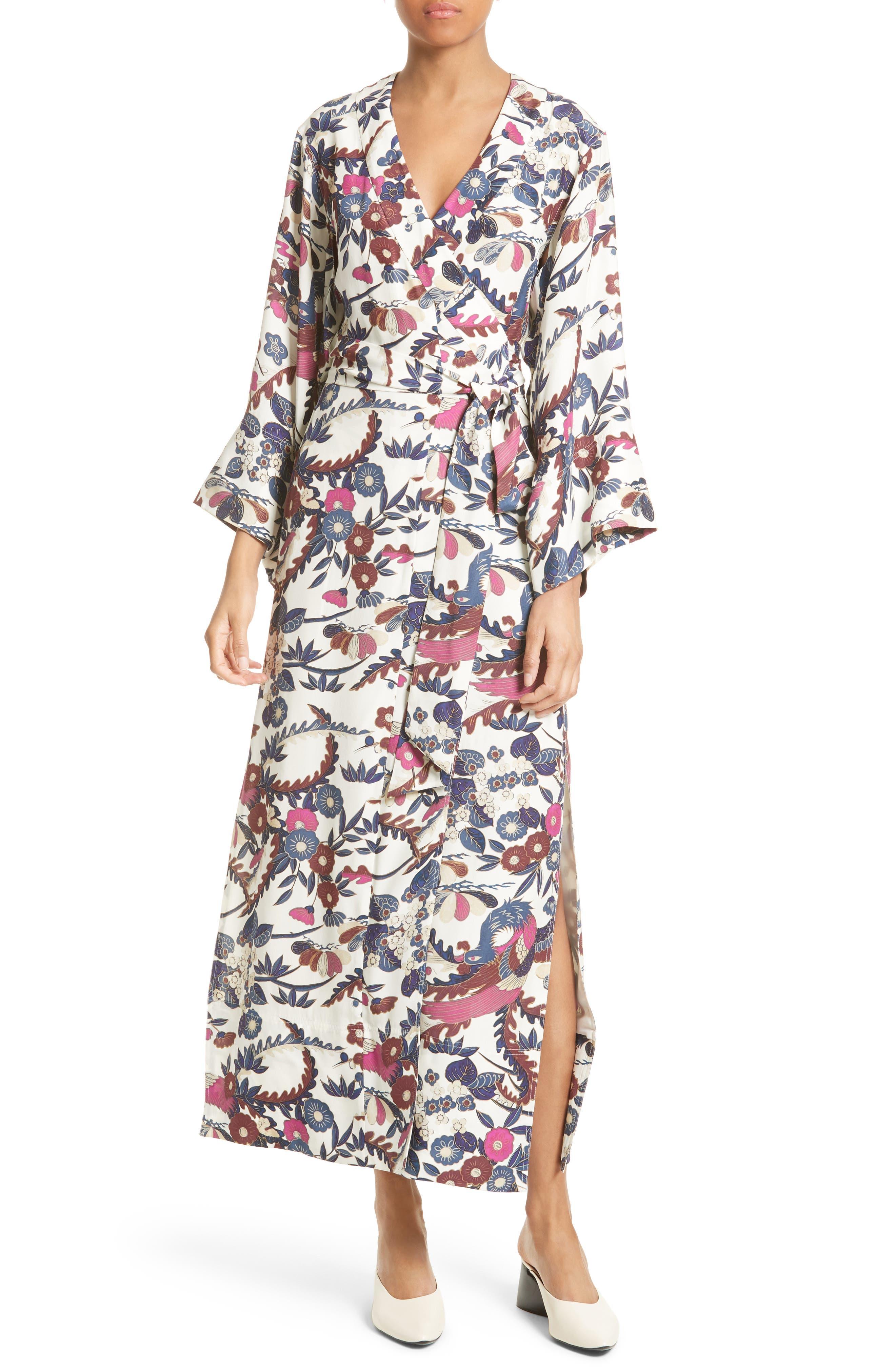 Howe Kimono Wrap Dress,                             Main thumbnail 1, color,                             Ivory