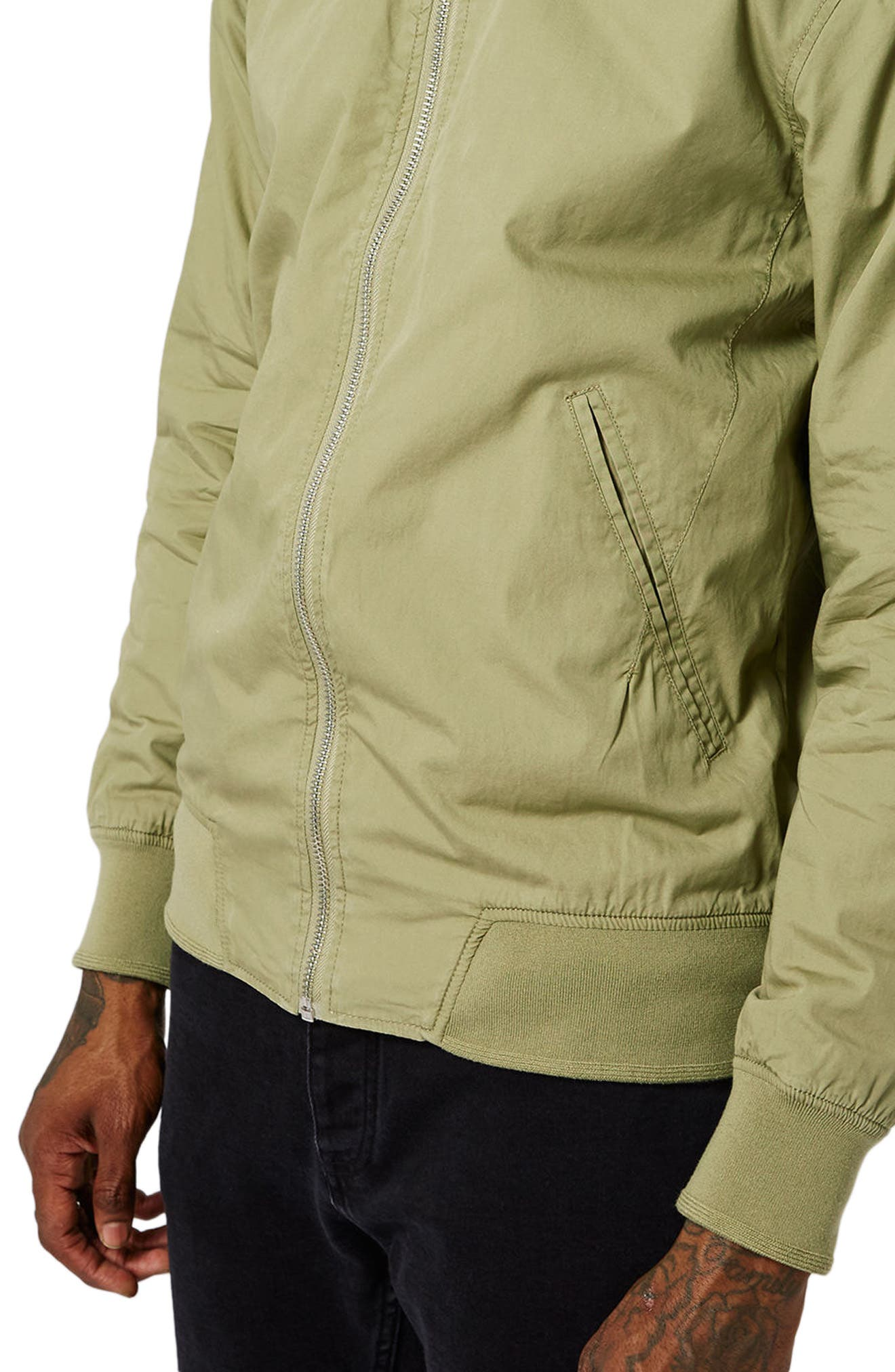 Classic Bomber Jacket,                             Alternate thumbnail 4, color,                             Olive