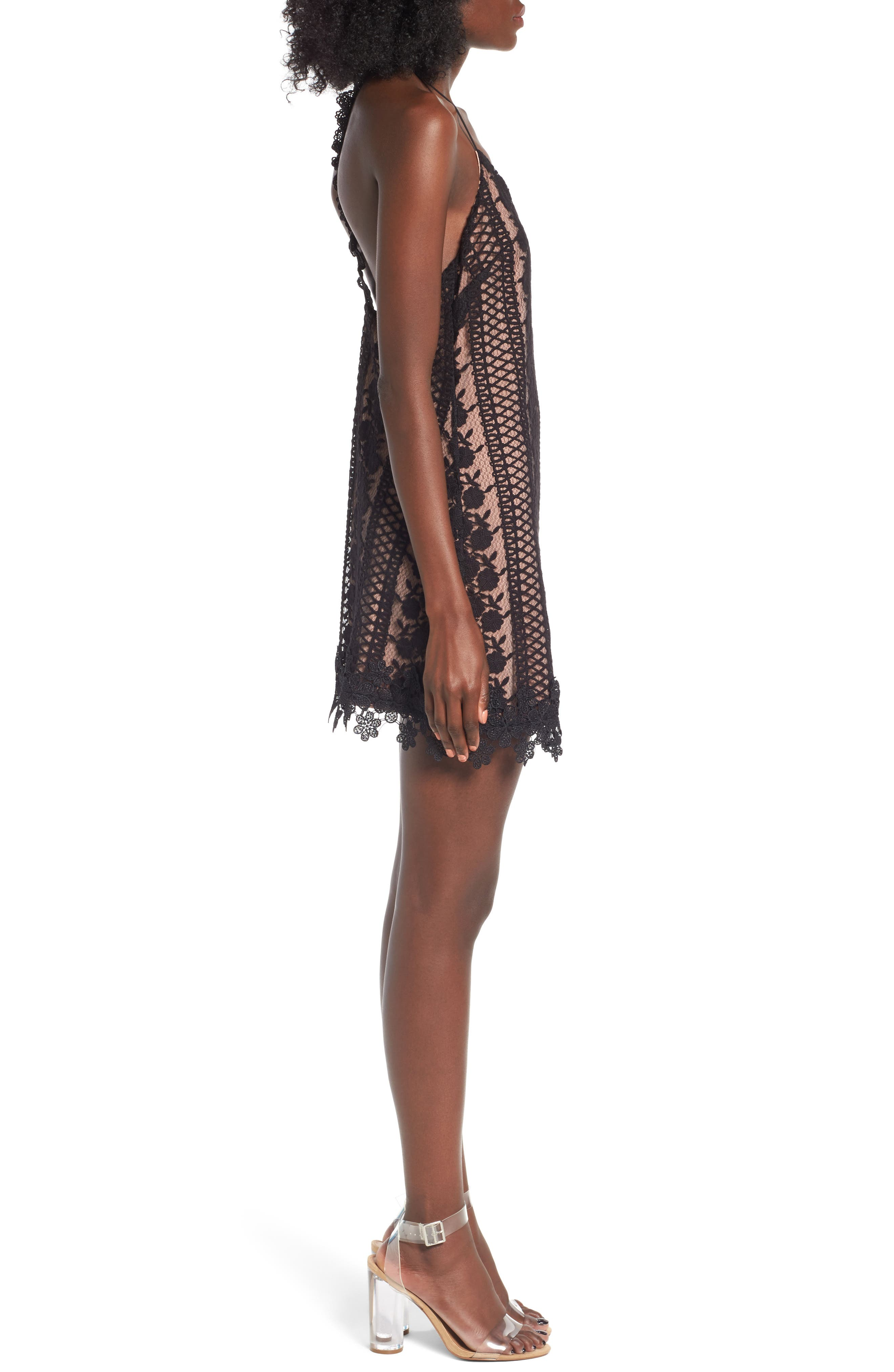 Acadia Lace Slipdress,                             Alternate thumbnail 4, color,                             Black