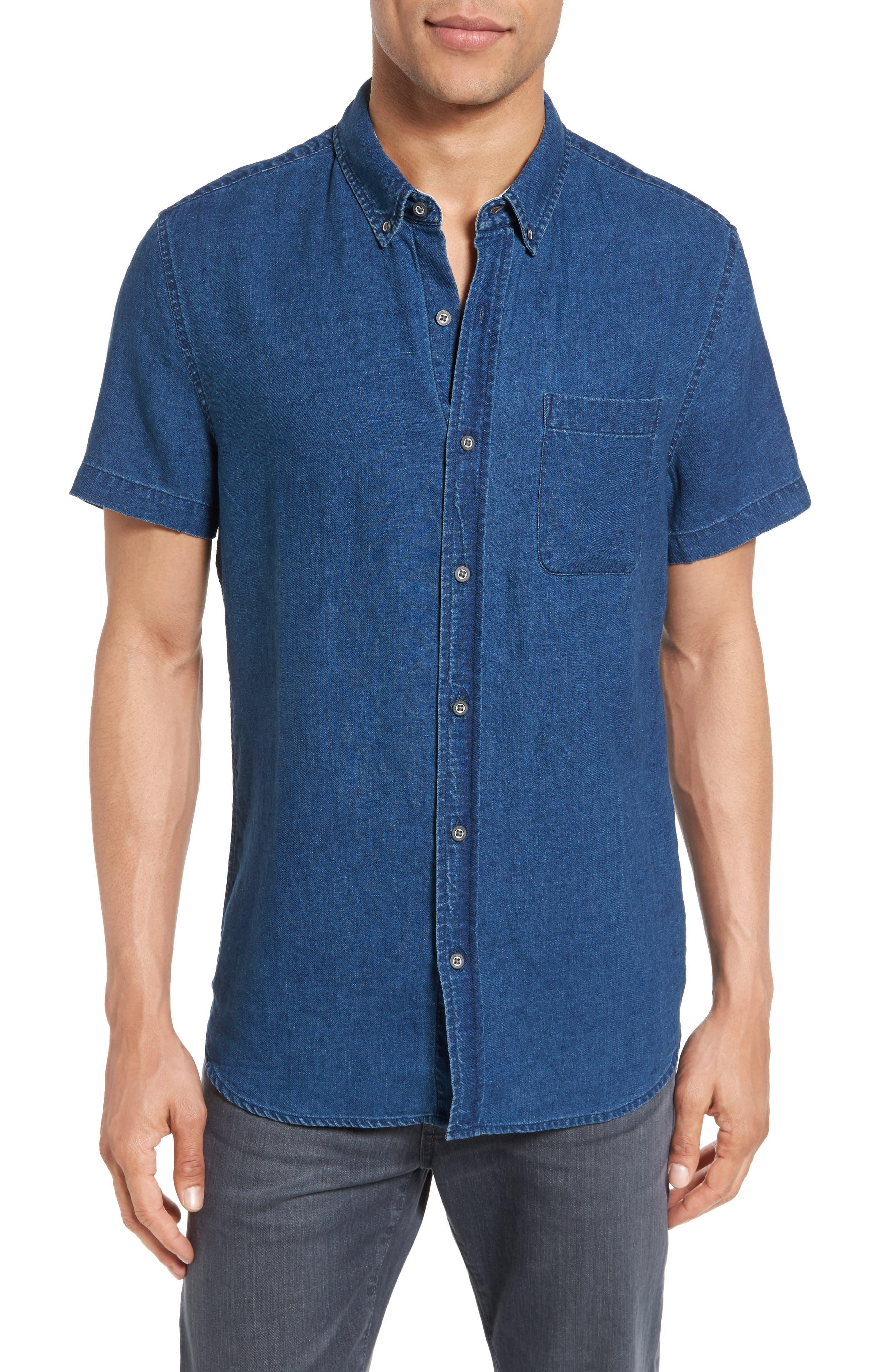 Nash Slim Fit Linen & Cotton Sport Shirt,                         Main,                         color, Fender