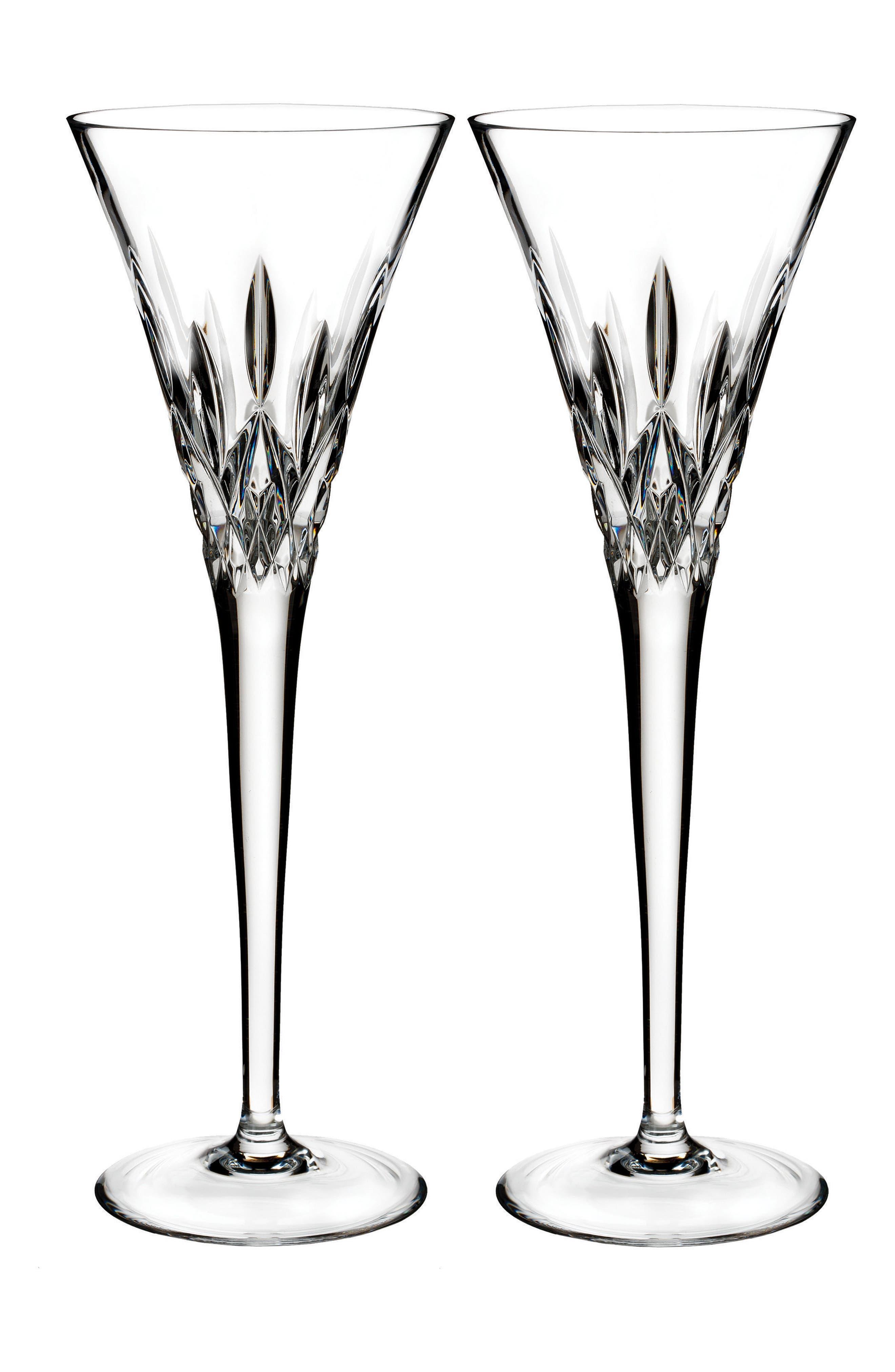 Lismore Pops Set of 2 Lead Crystal Champagne Flutes,                         Main,                         color, Crystal