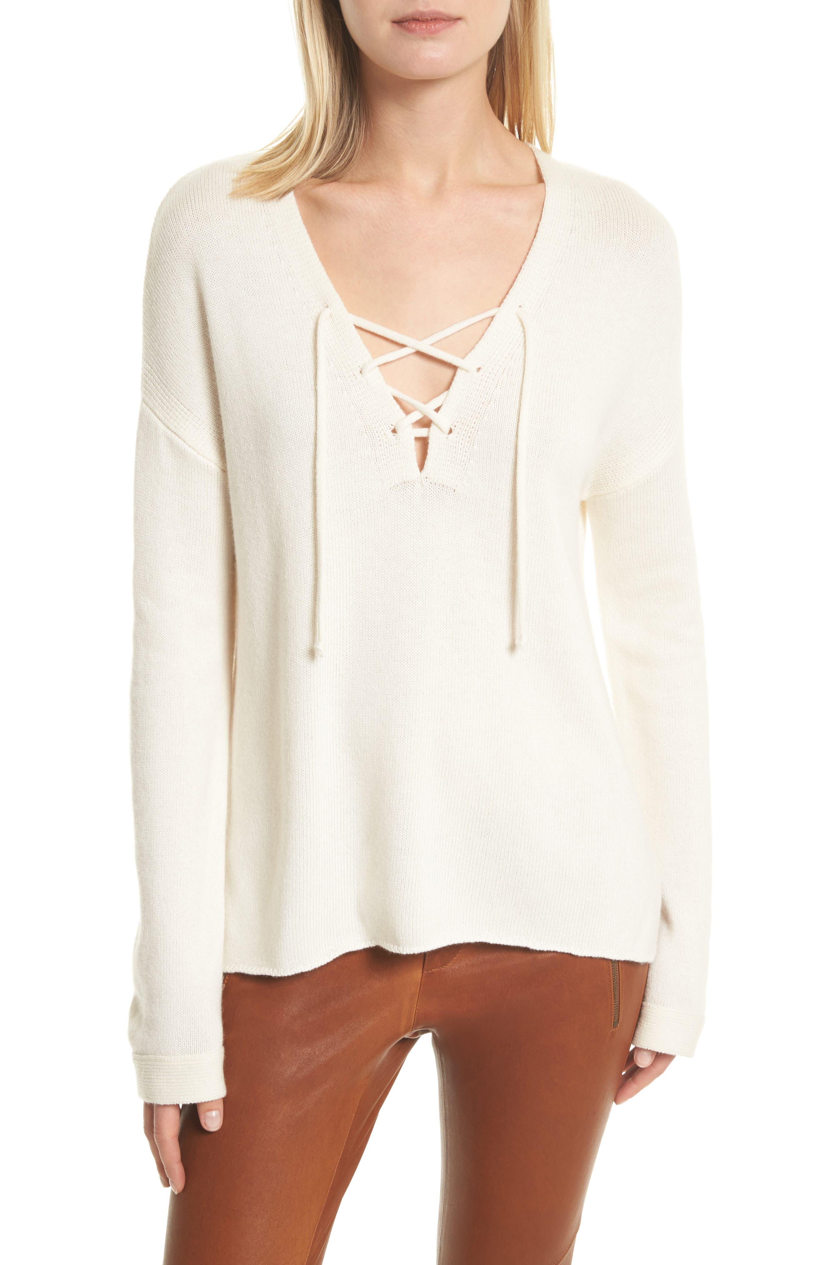 Joie Larken Lace Up Sweater