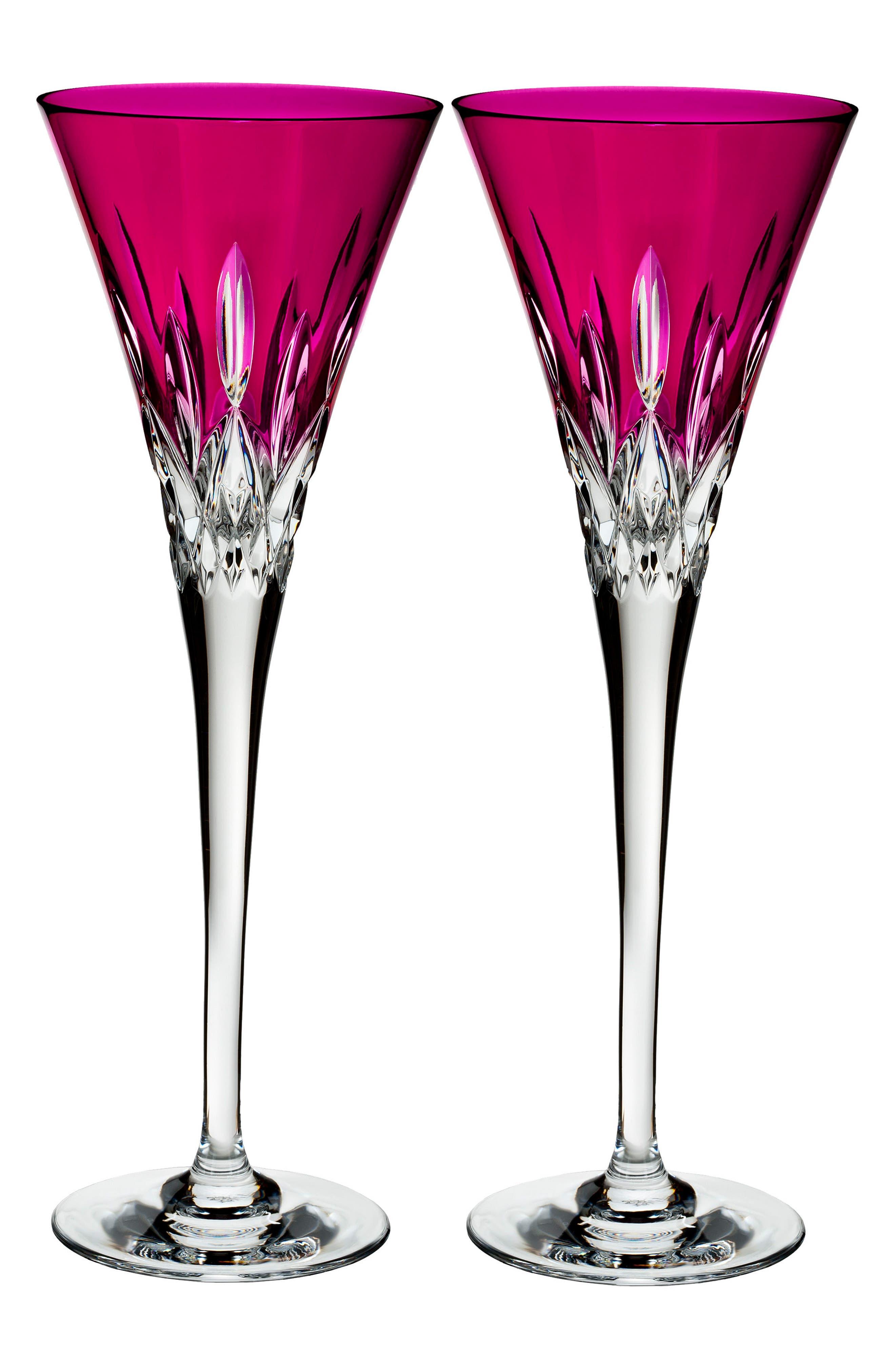 Lismore Pops Set of 2 Hot Pink Lead Crystal Champagne Flutes,                             Main thumbnail 1, color,                             Crystal