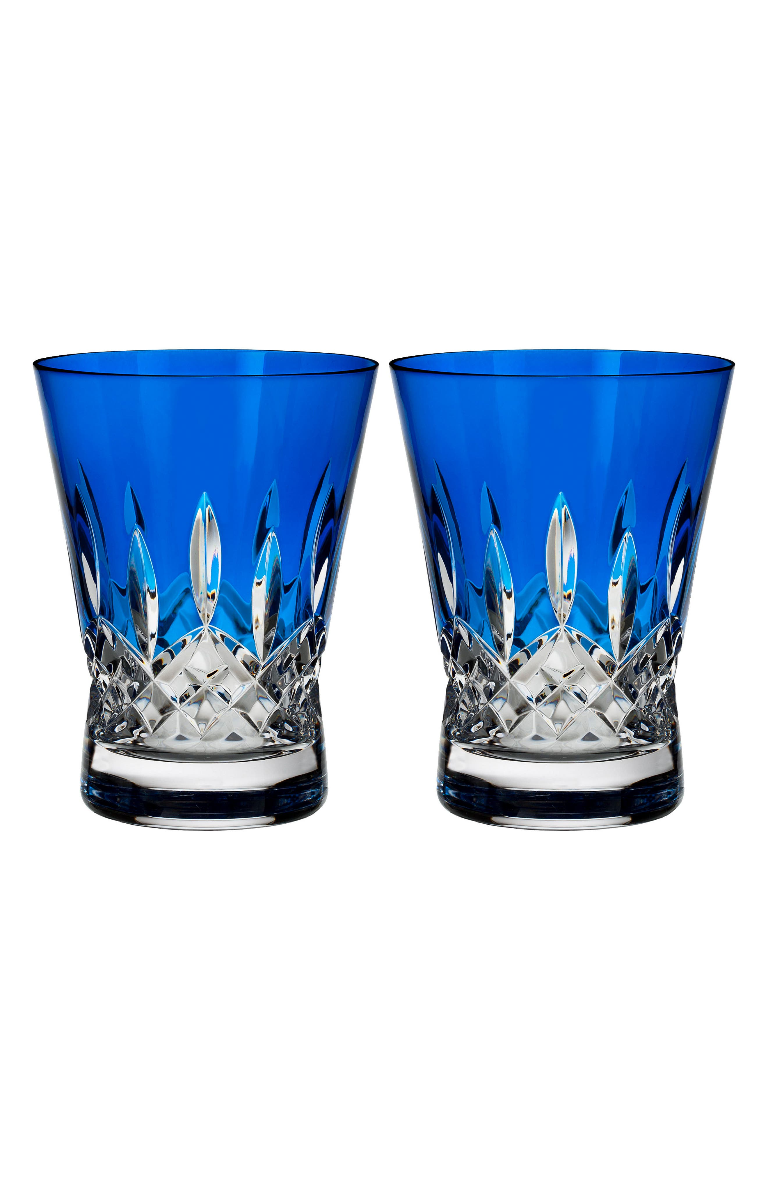 Lismore Pops Set of 2 Cobalt Lead Crystal Double Old Fashioned Glasses,                         Main,                         color, Crystal
