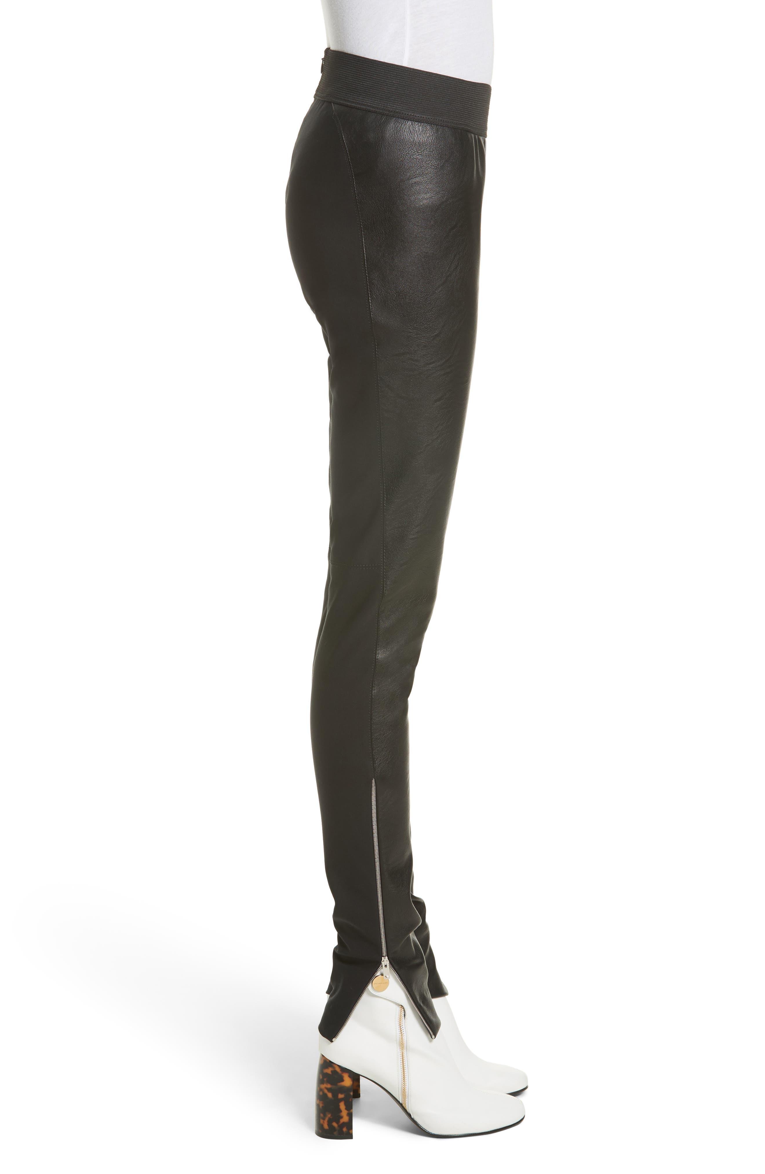 Faux Leather Stretch Leggings,                             Alternate thumbnail 6, color,                             Black
