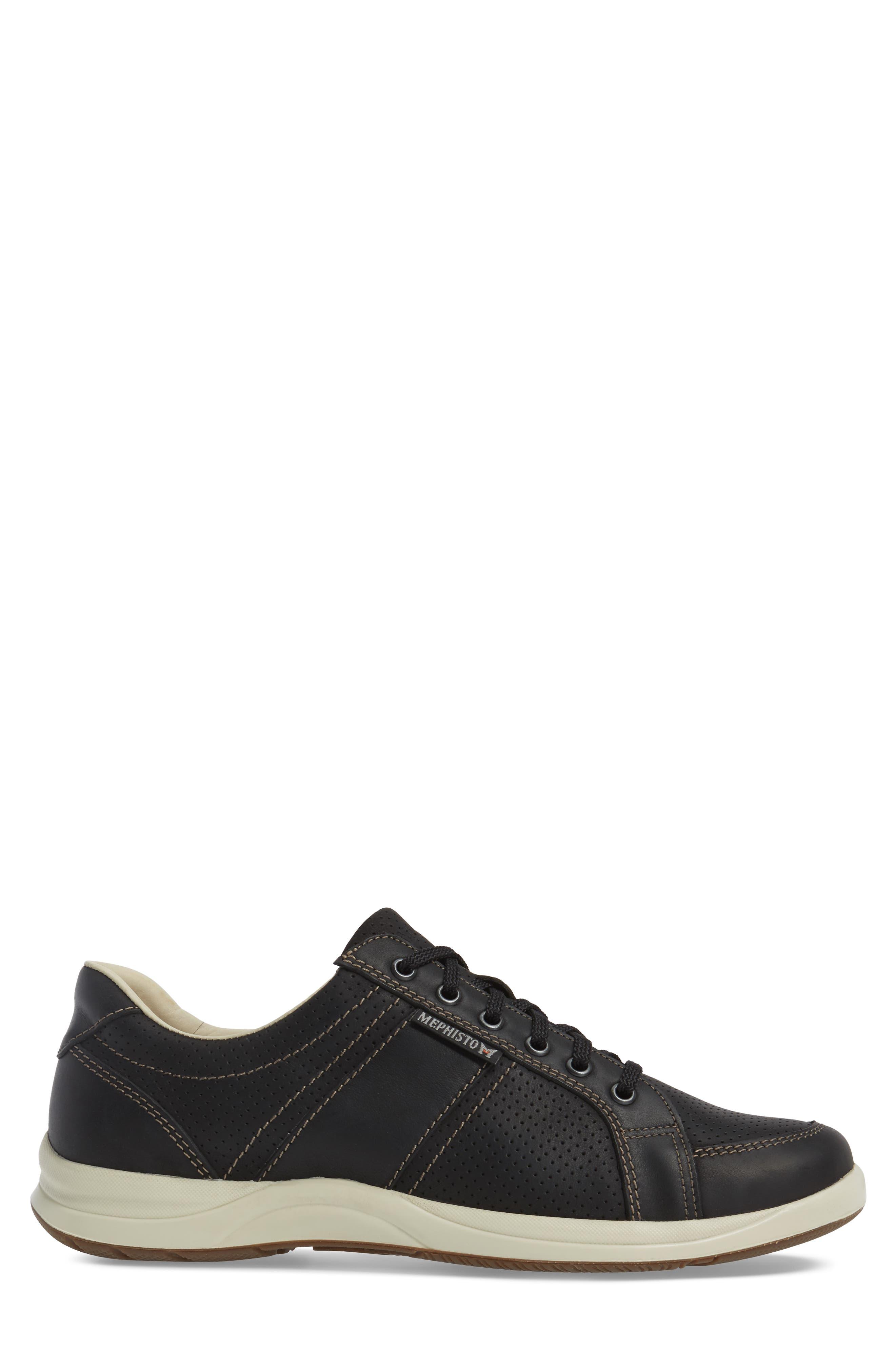 'Hero' Perforated Sneaker,                             Alternate thumbnail 3, color,                             Black Nubuck Leather