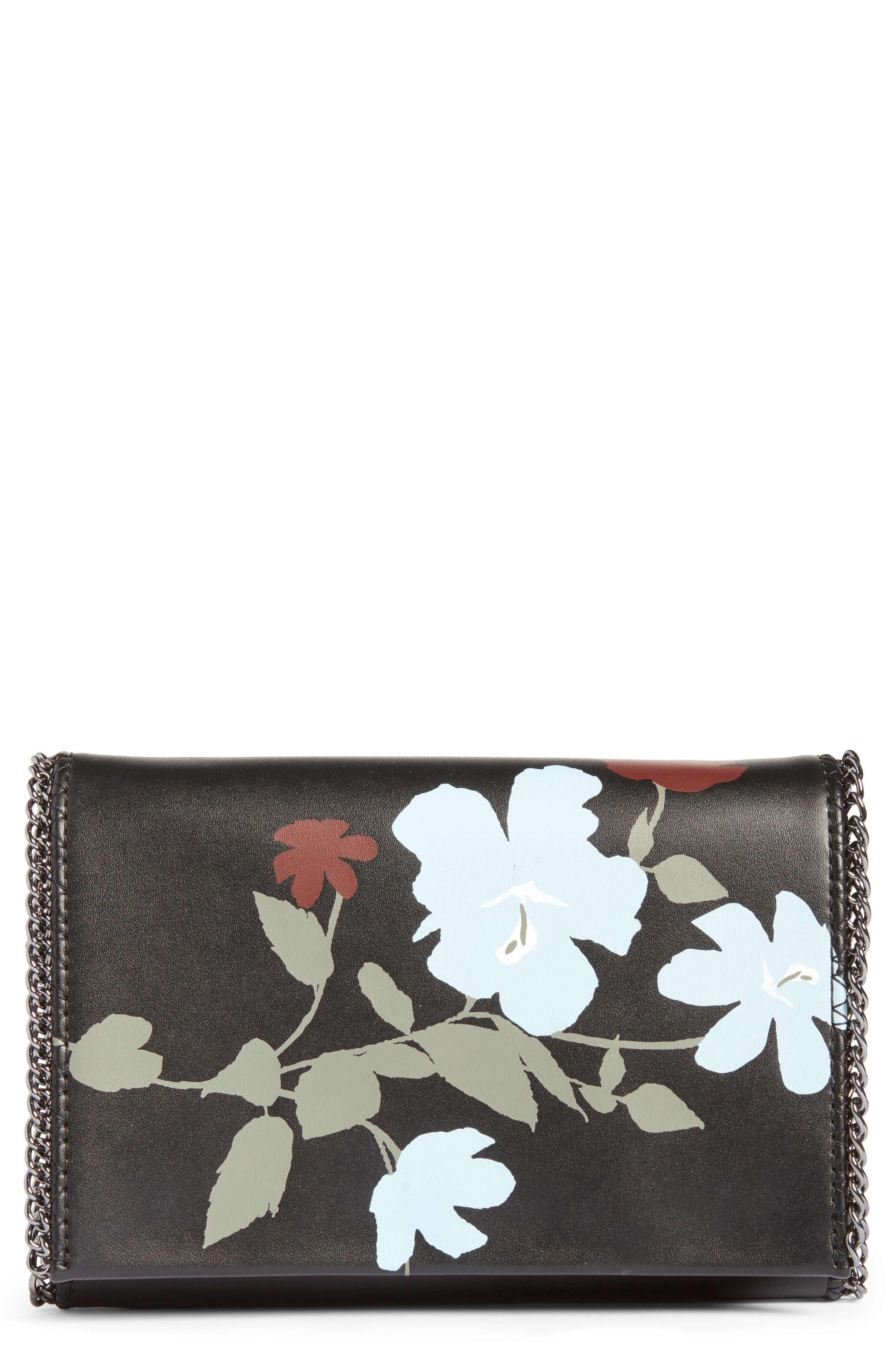 Fleur Faux Leather Clutch,                         Main,                         color, Black