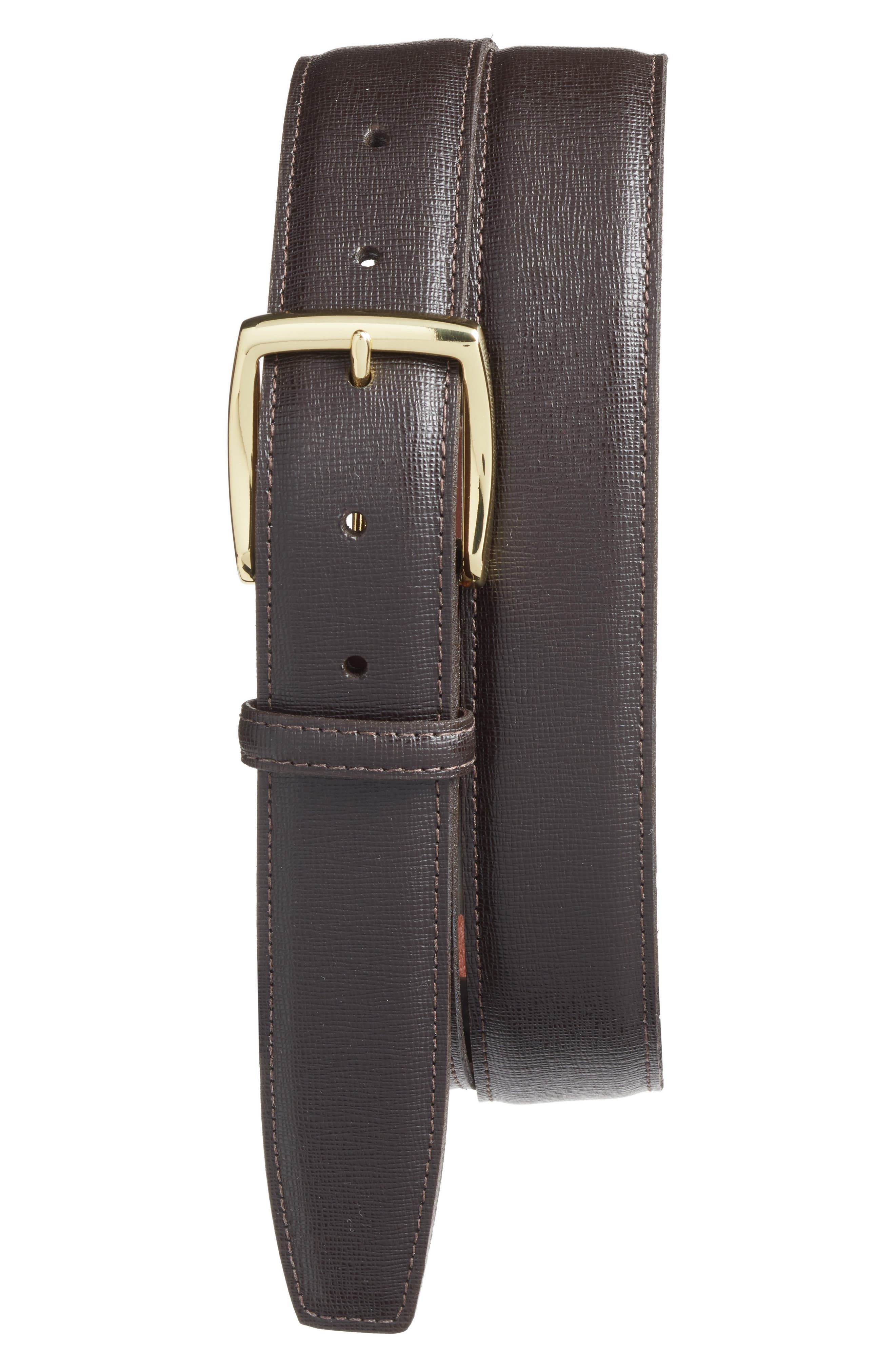 Leather Belt,                         Main,                         color, Brown