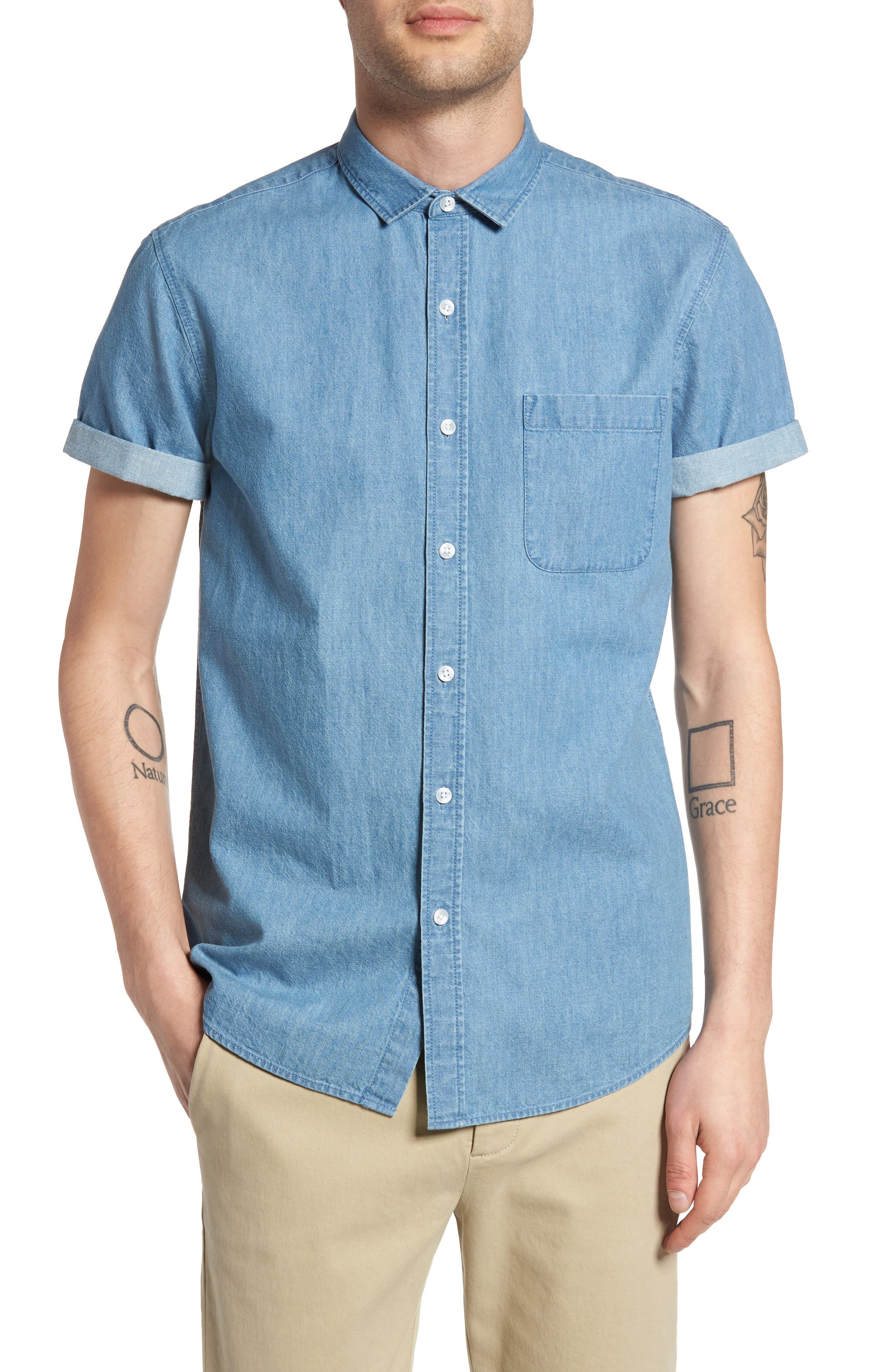Washed Denim Shirt,                         Main,                         color, Blue