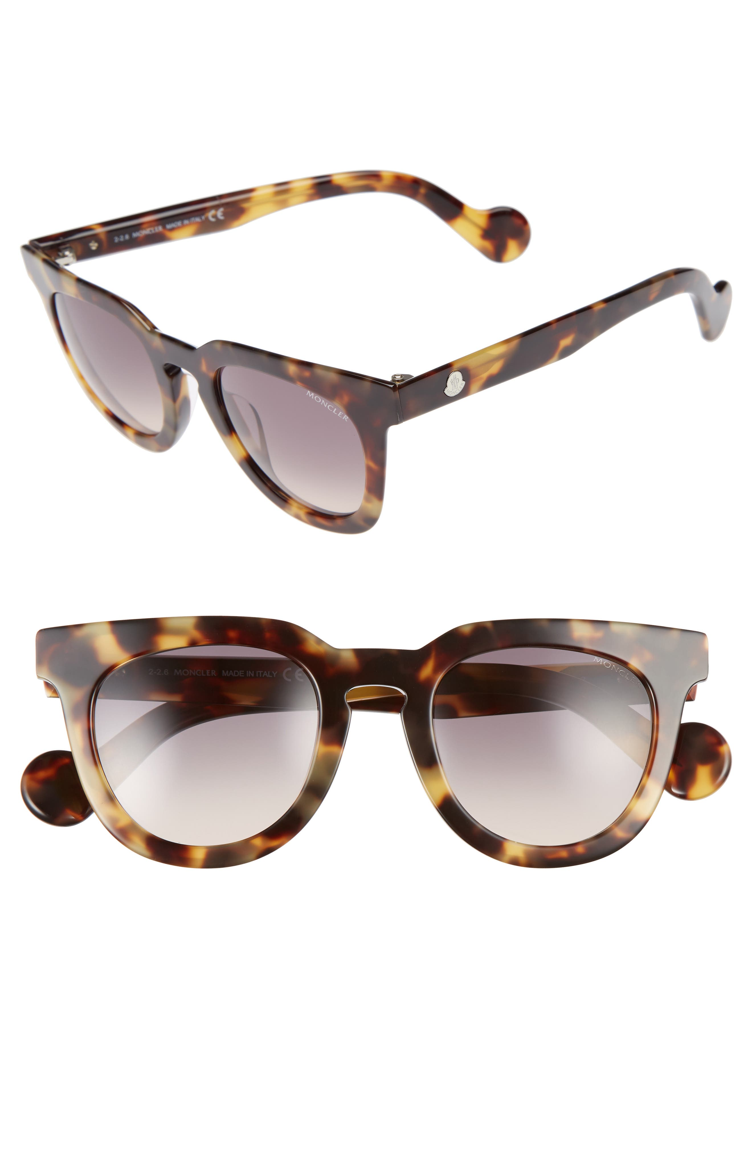 48mm Retro Sunglasses,                         Main,                         color, Blonde Havana / Gradient Smoke