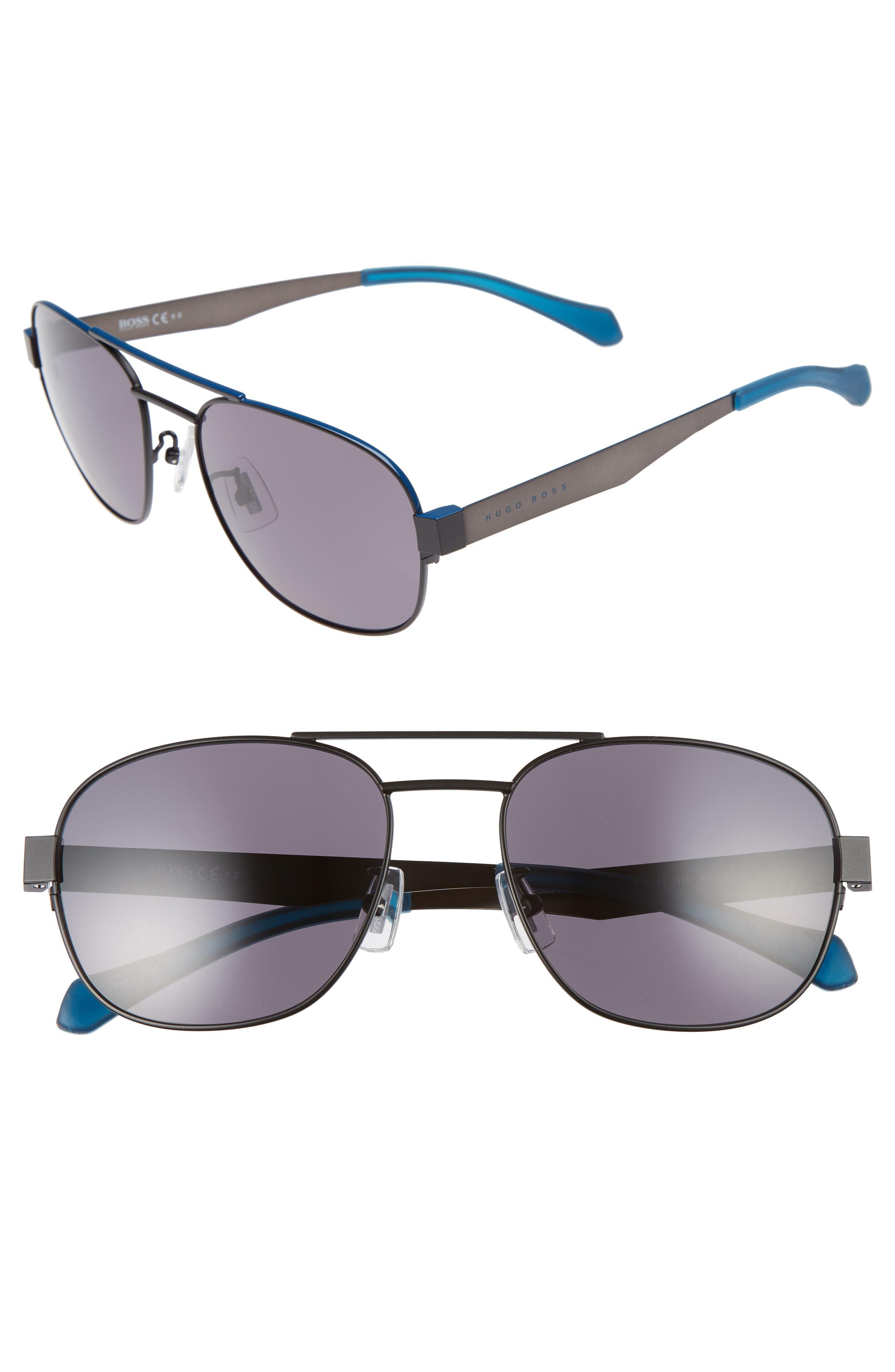 58mm Polarized Navigator Sunglasses,                             Main thumbnail 1, color,                             Matte Blue/ Smoke