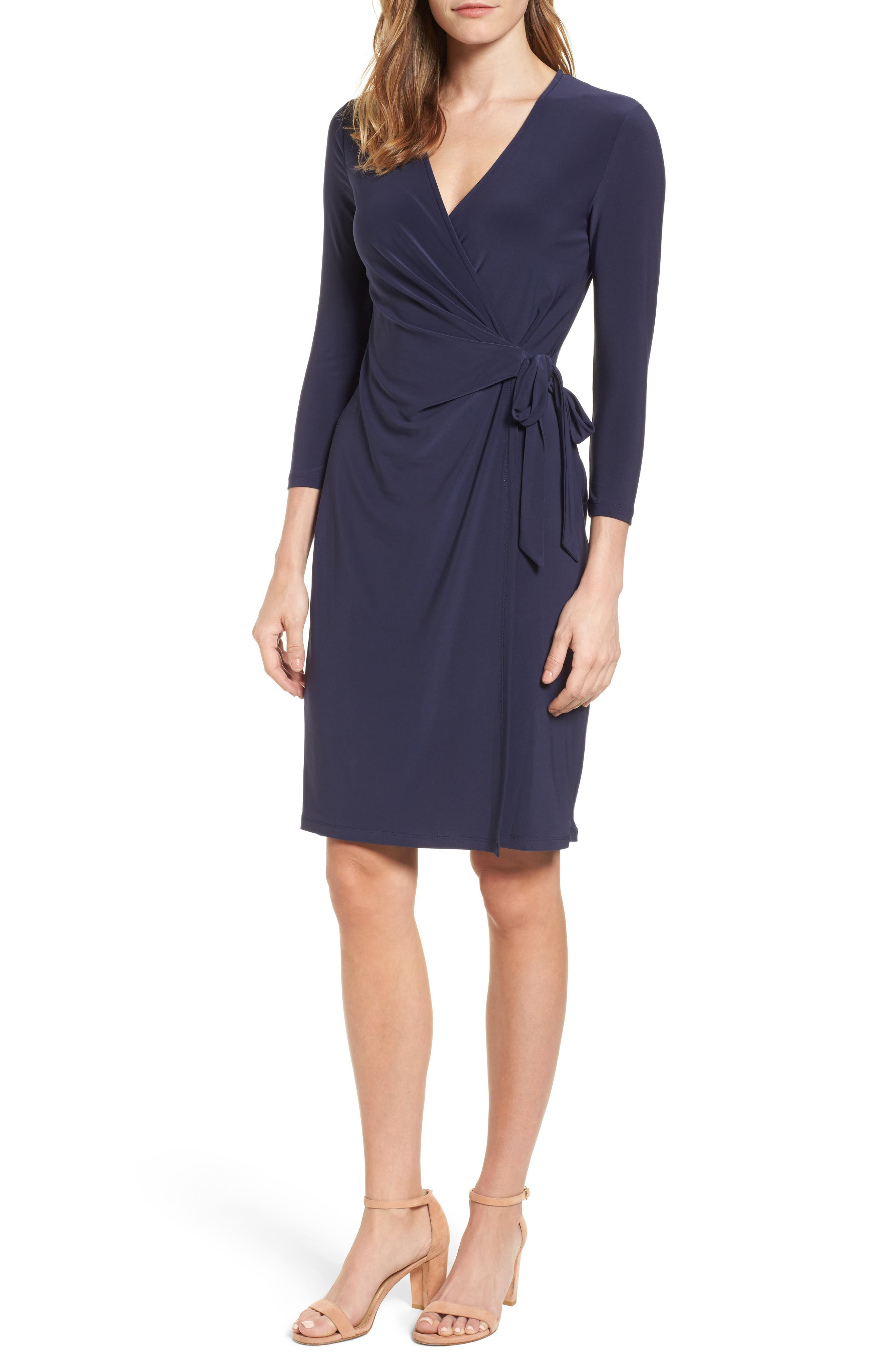 Jersey Faux Wrap Dress,                         Main,                         color, Dark Indigo