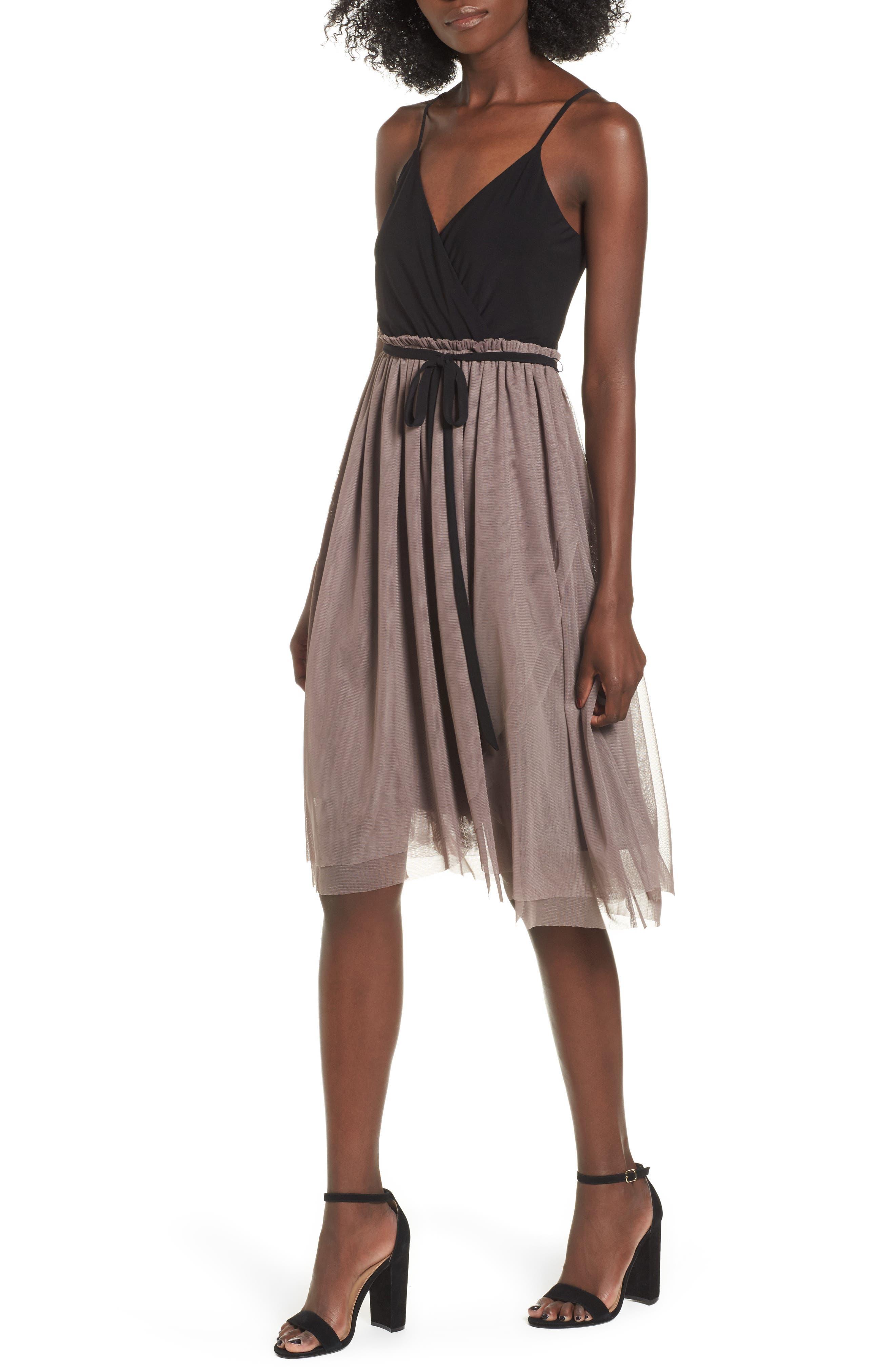 Main Image - Leith Mixed Media Midi Dress