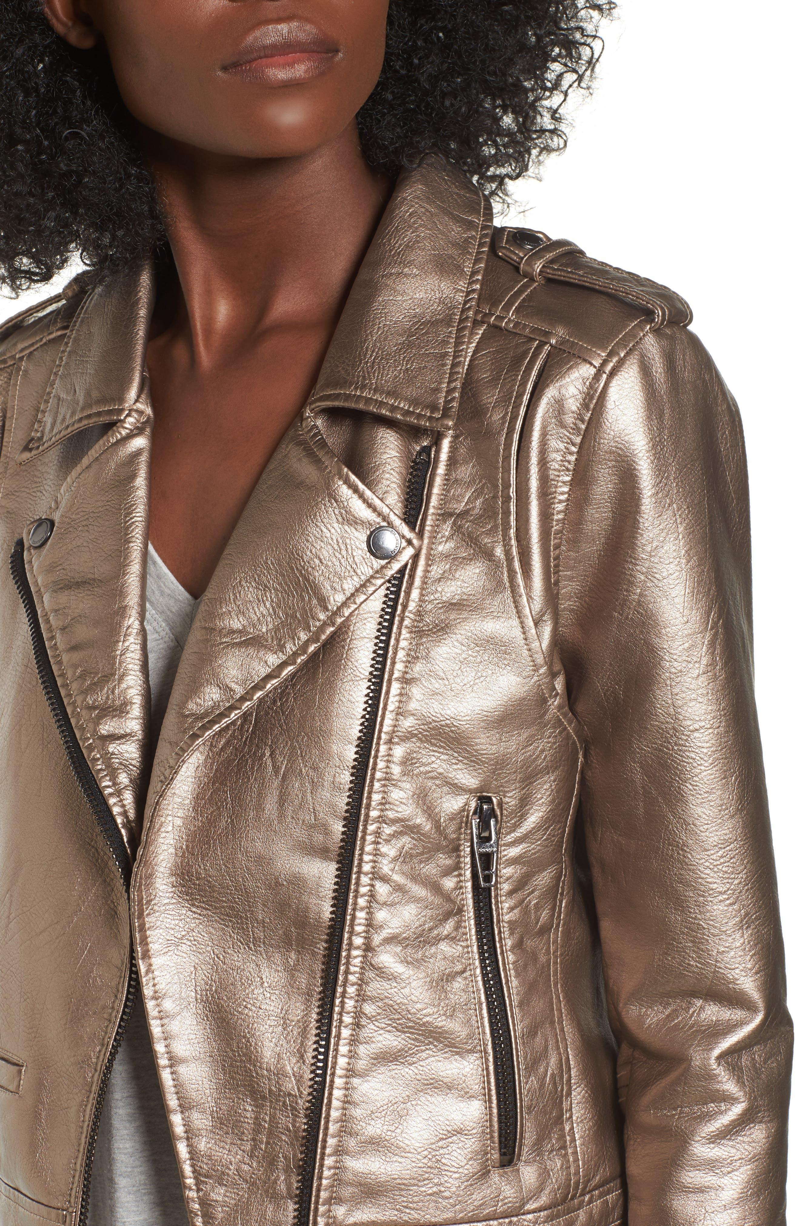 Metallic Faux Leather Moto Jacket,                             Alternate thumbnail 4, color,                             Silver Glow