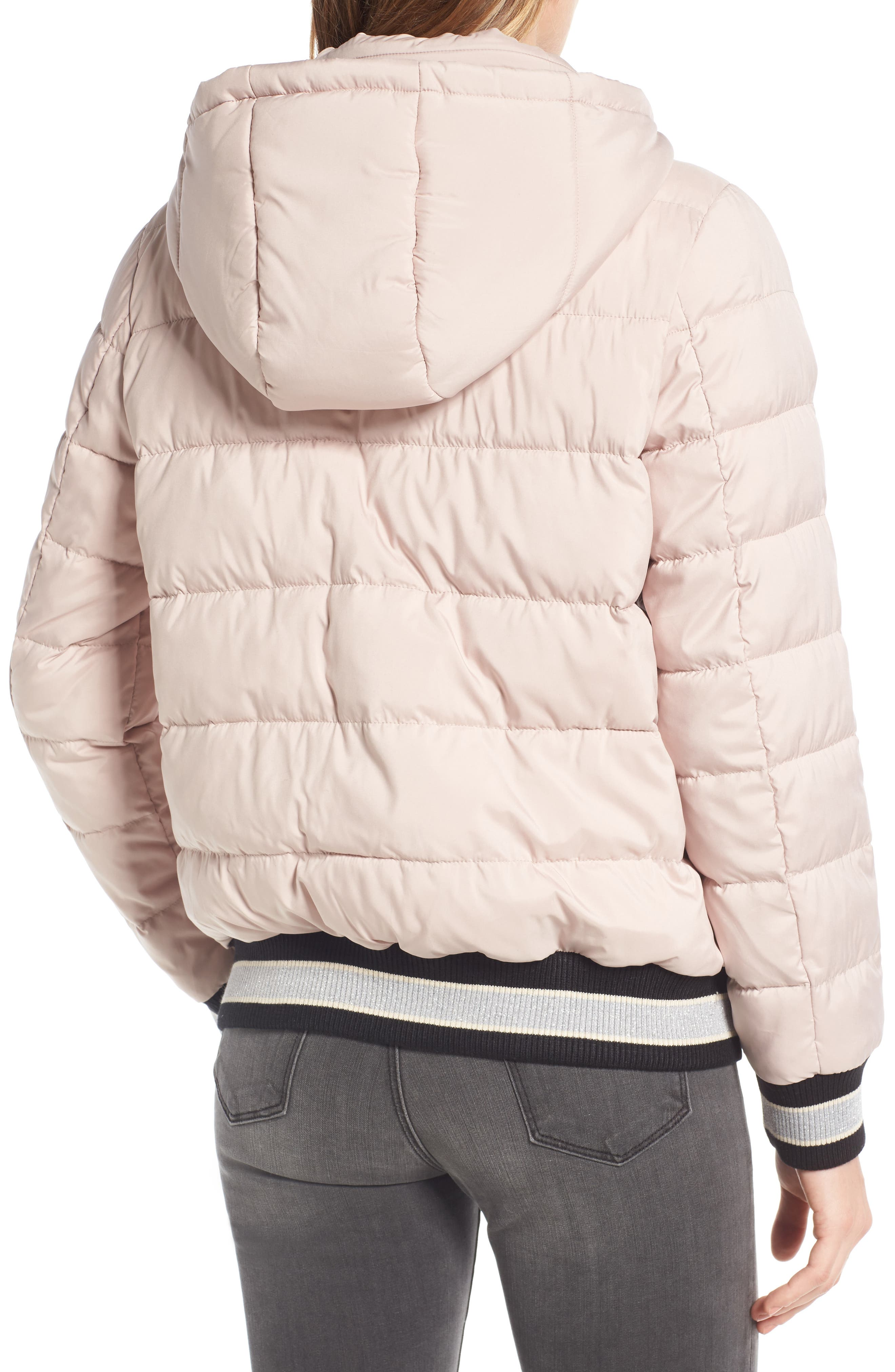 Micro Touch Hooded Quilted Bomber Jacket,                             Alternate thumbnail 2, color,                             Petal Pink