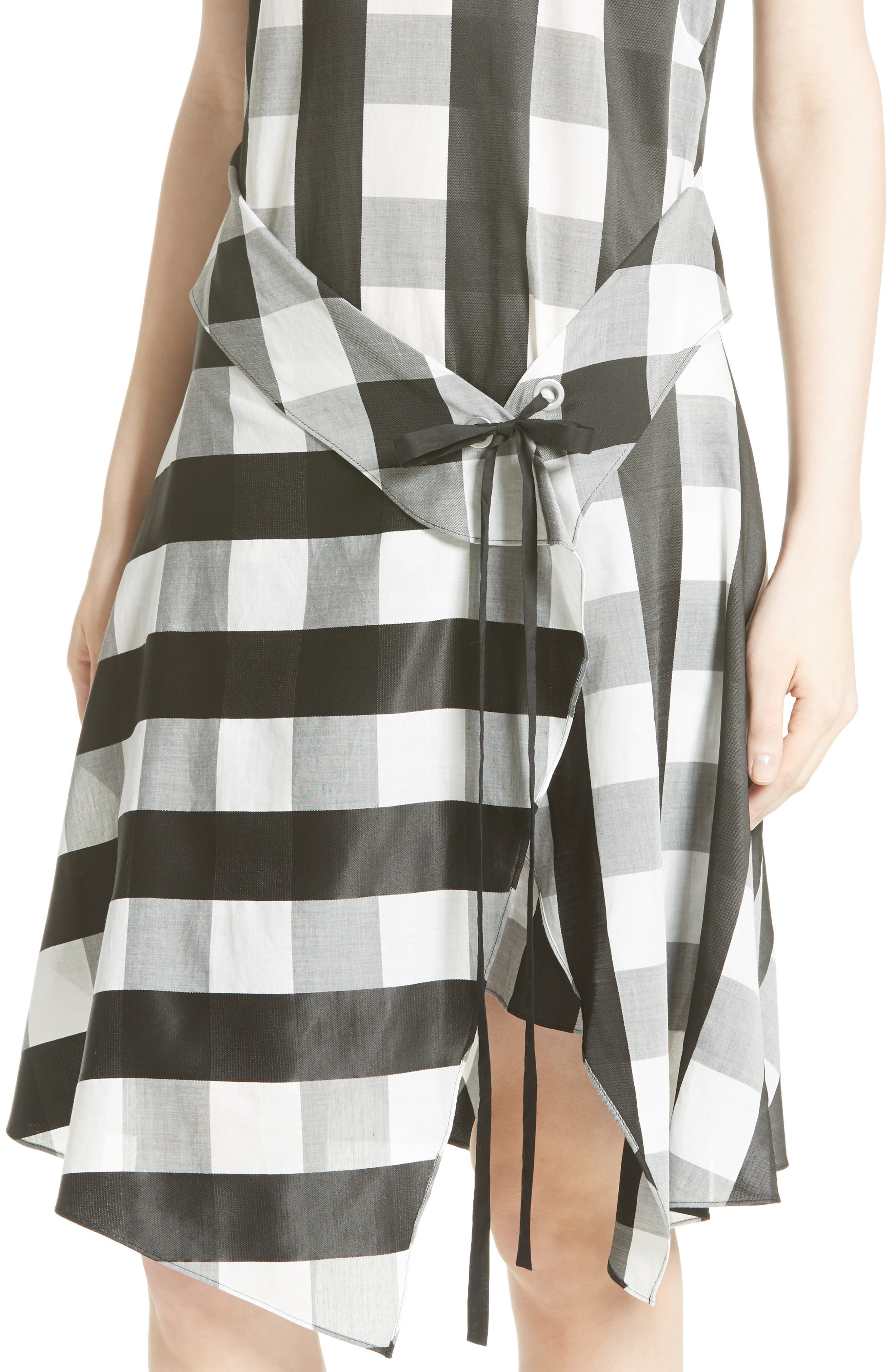 Brighton Asymmetrical Dress,                             Alternate thumbnail 4, color,                             Black/ White