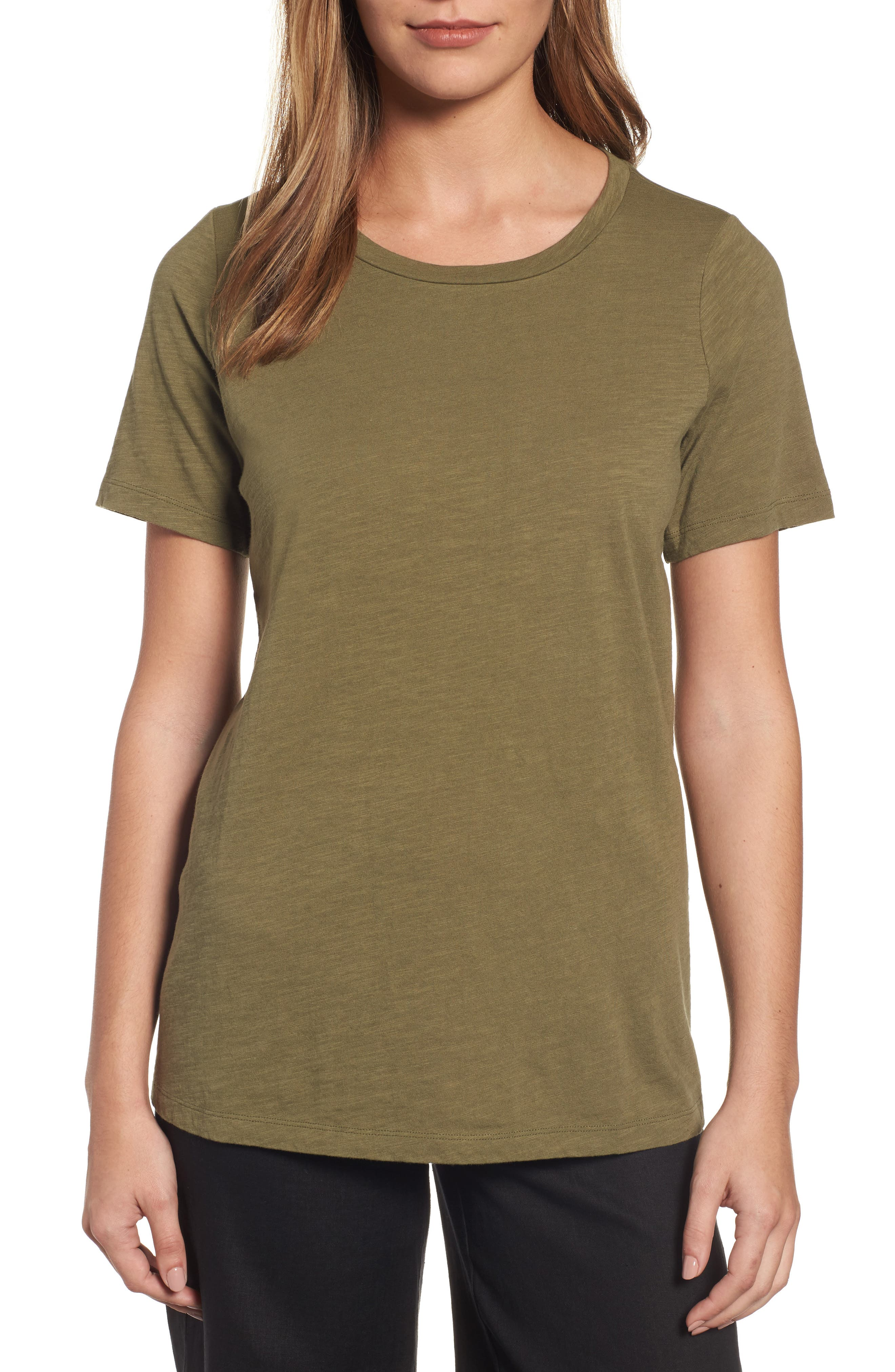 Organic Cotton Tee,                         Main,                         color, Olive