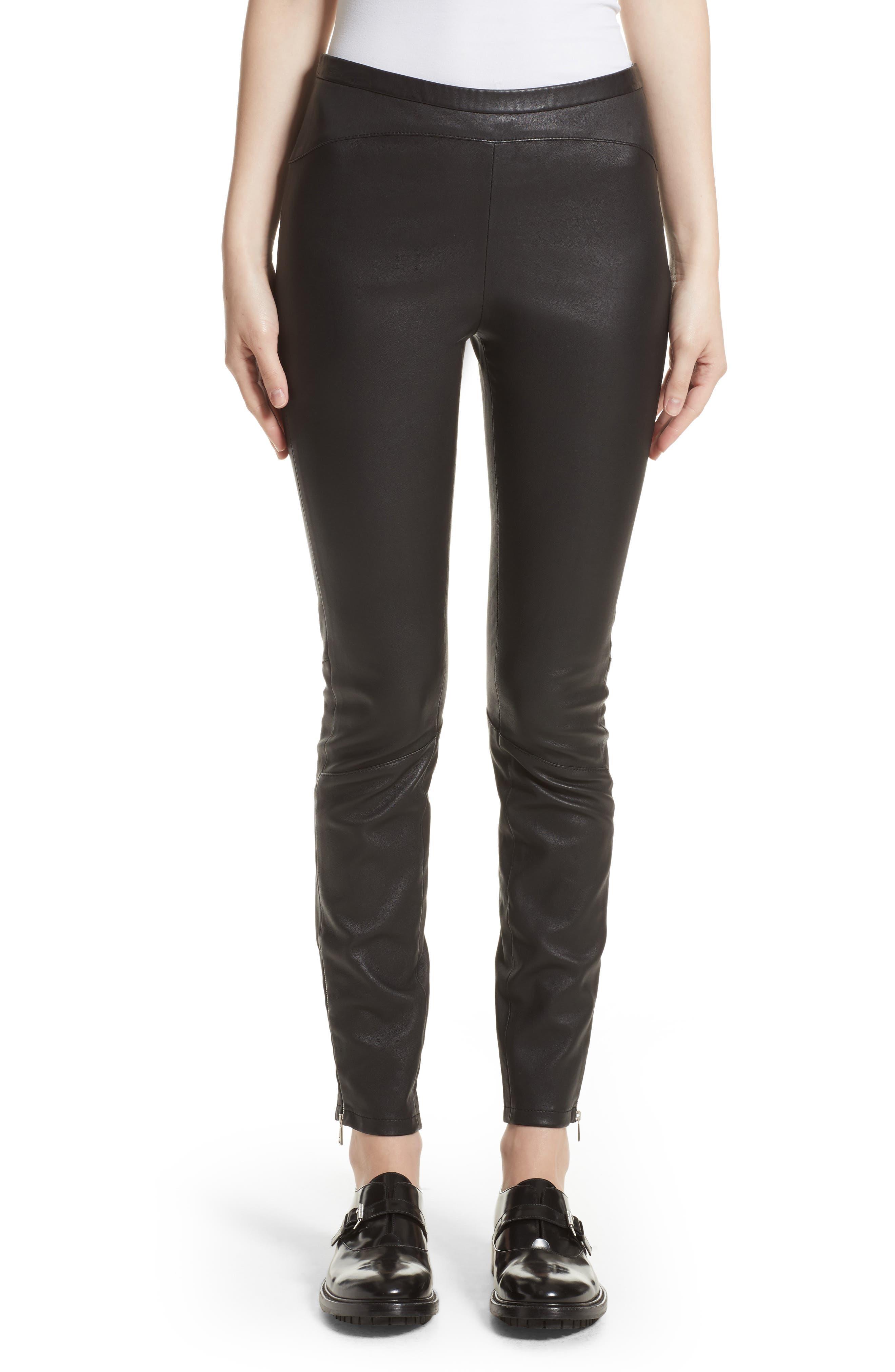 Gazelle Leather Leggings,                         Main,                         color, Black