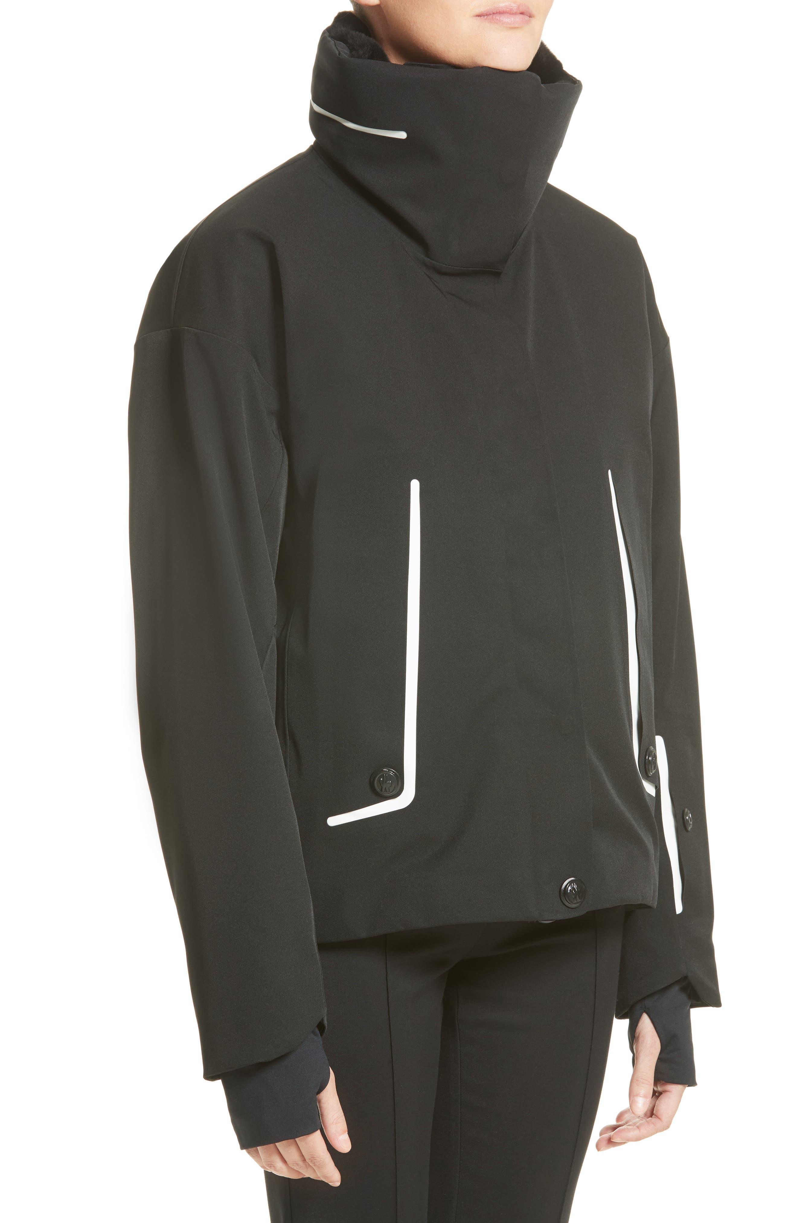 Troisvallees Jacket with Genuine Nutria Fur Collar,                             Alternate thumbnail 4, color,                             Black/ White