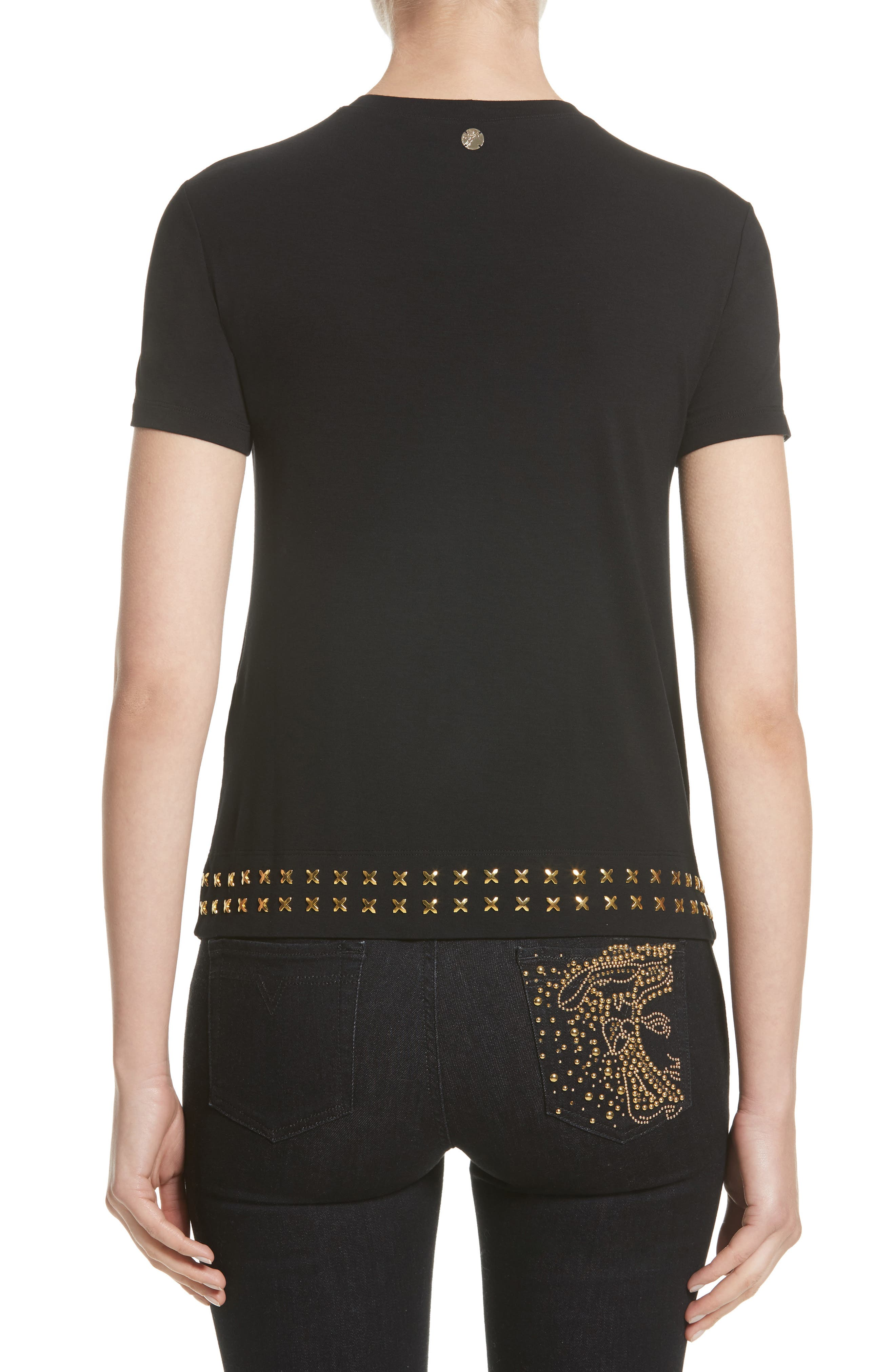 Alternate Image 2  - Versace Collection Hardware Embellished Jersey Asymmetrical Top