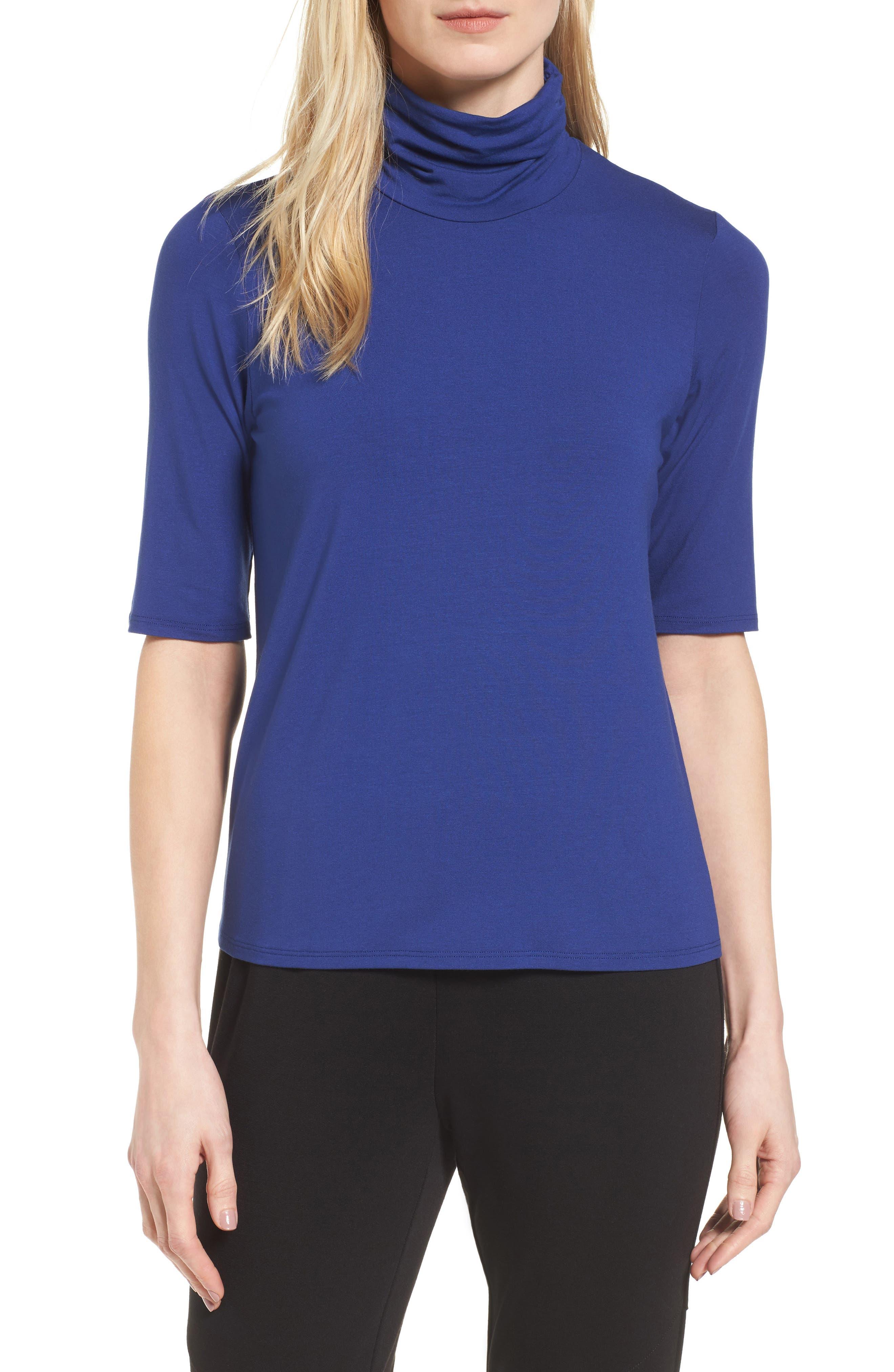 Alternate Image 1 Selected - Eileen Fisher Scrunch Neck Jersey Top (Regular & Petite)
