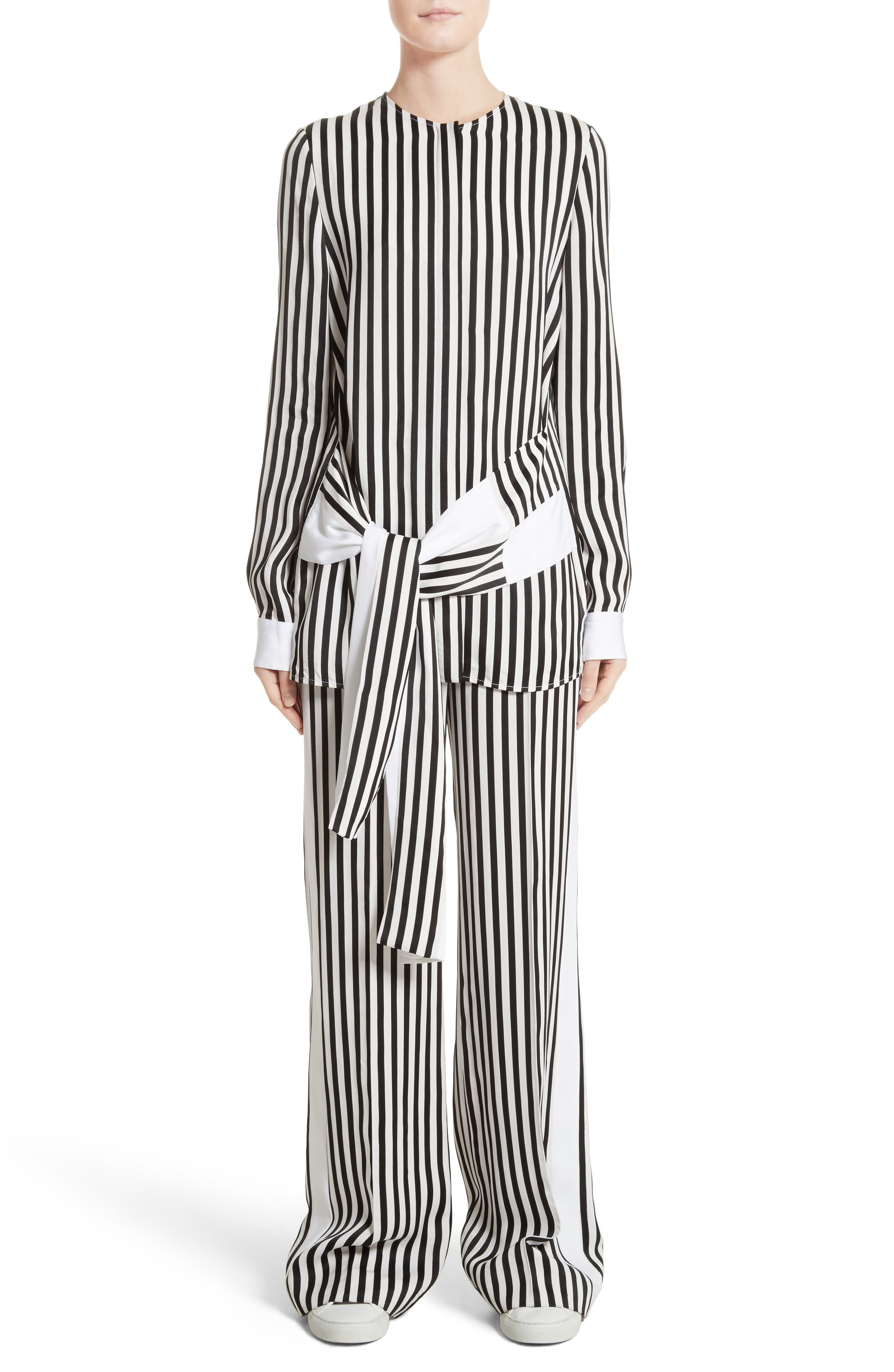 Stripe Tie Waist Blouse,                             Alternate thumbnail 2, color,                             Black/ White
