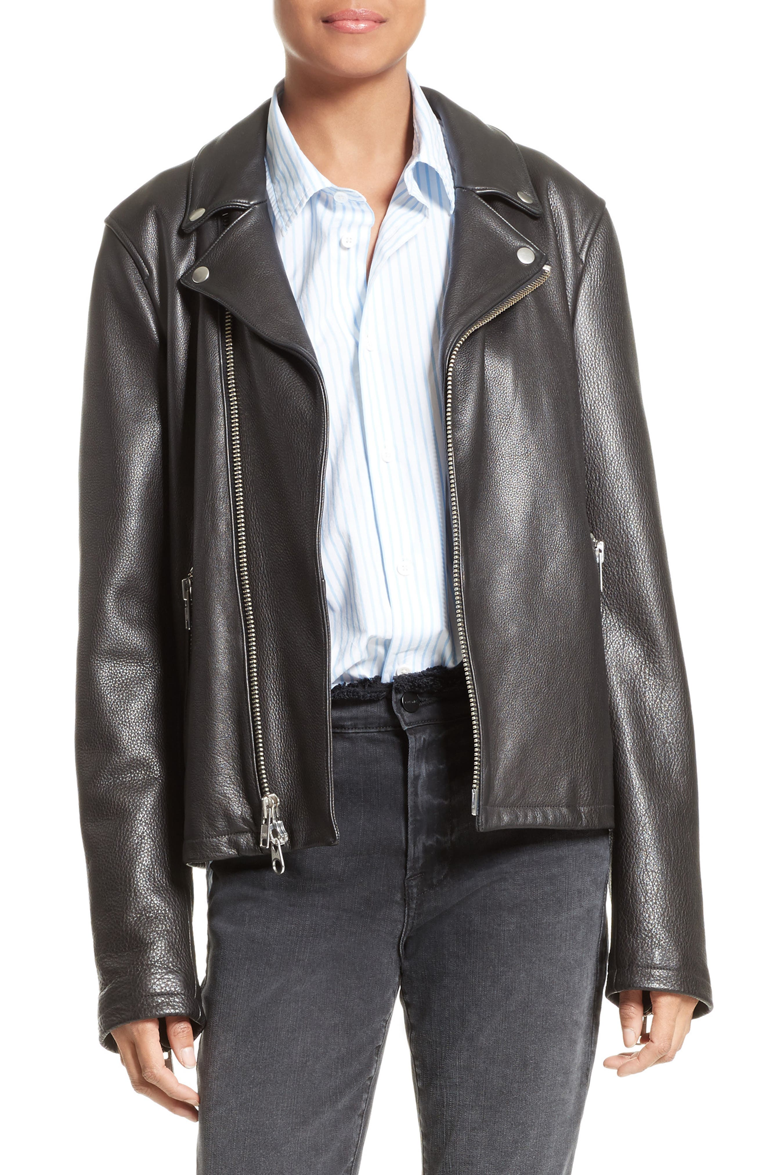 FRAME Oversized Leather Moto Jacket