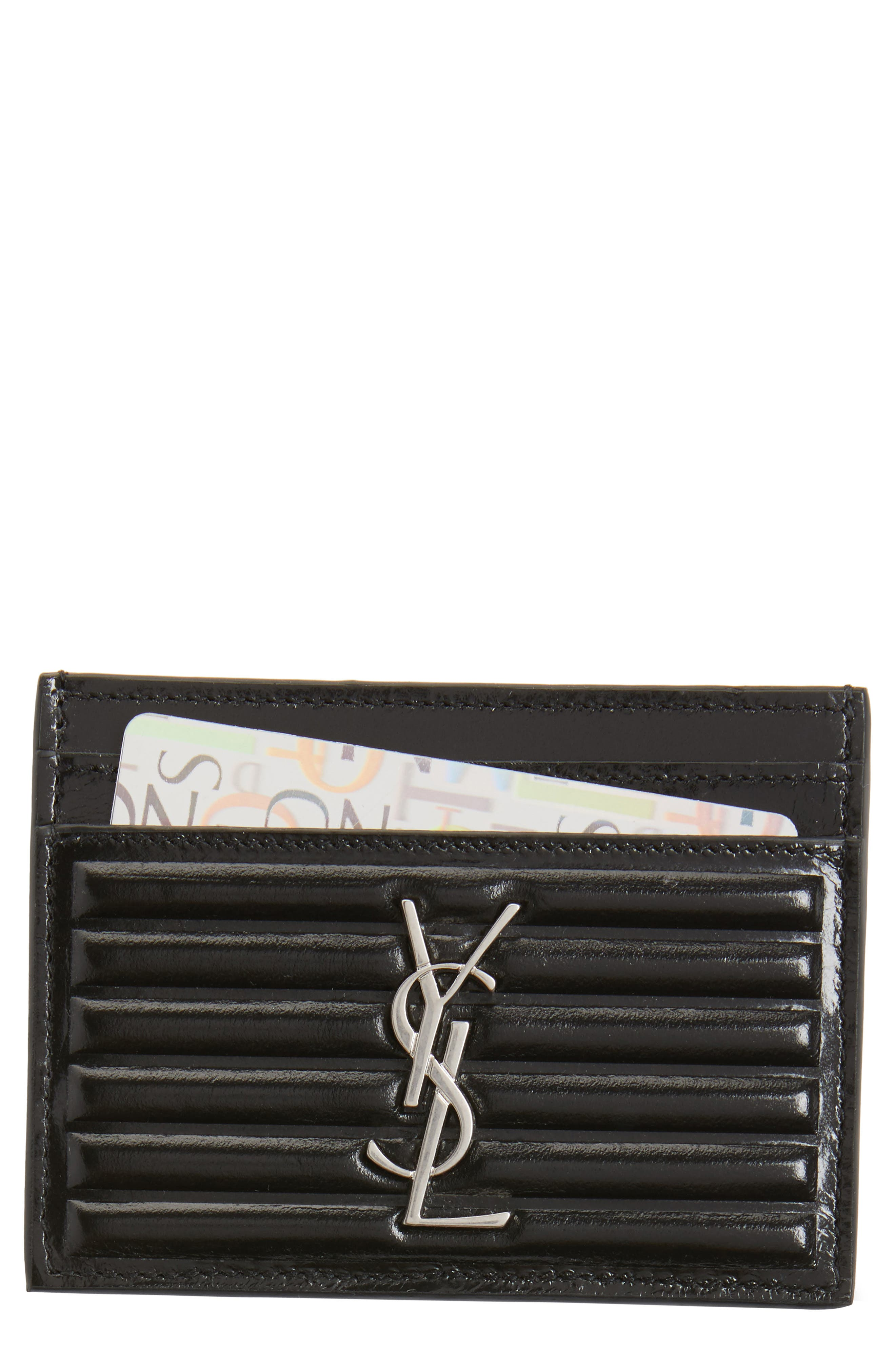 Opium Textured Leather Card Case,                         Main,                         color, Nero/ New Red