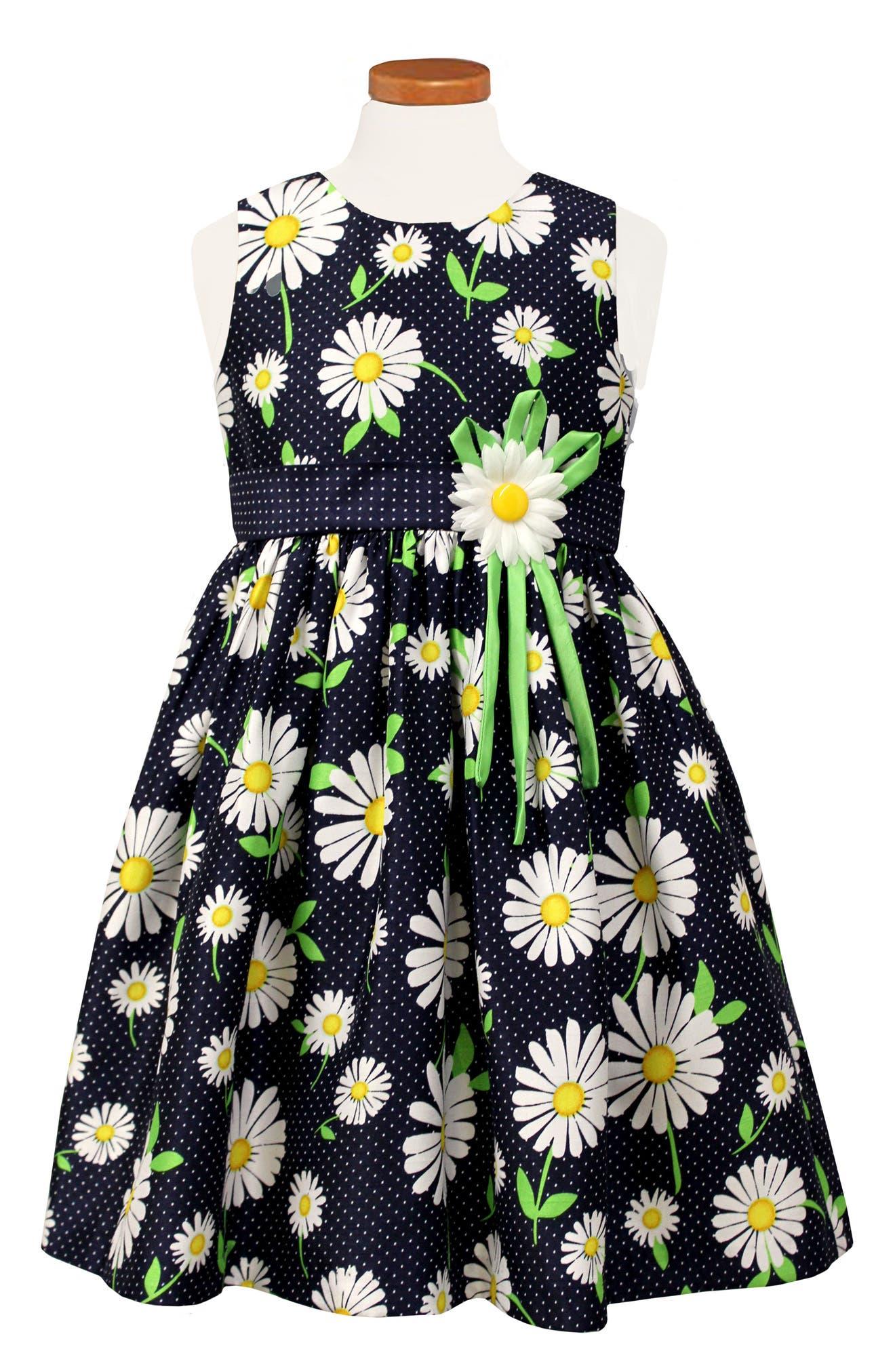 Floral Print Sleeveless Dress,                         Main,                         color, Navy