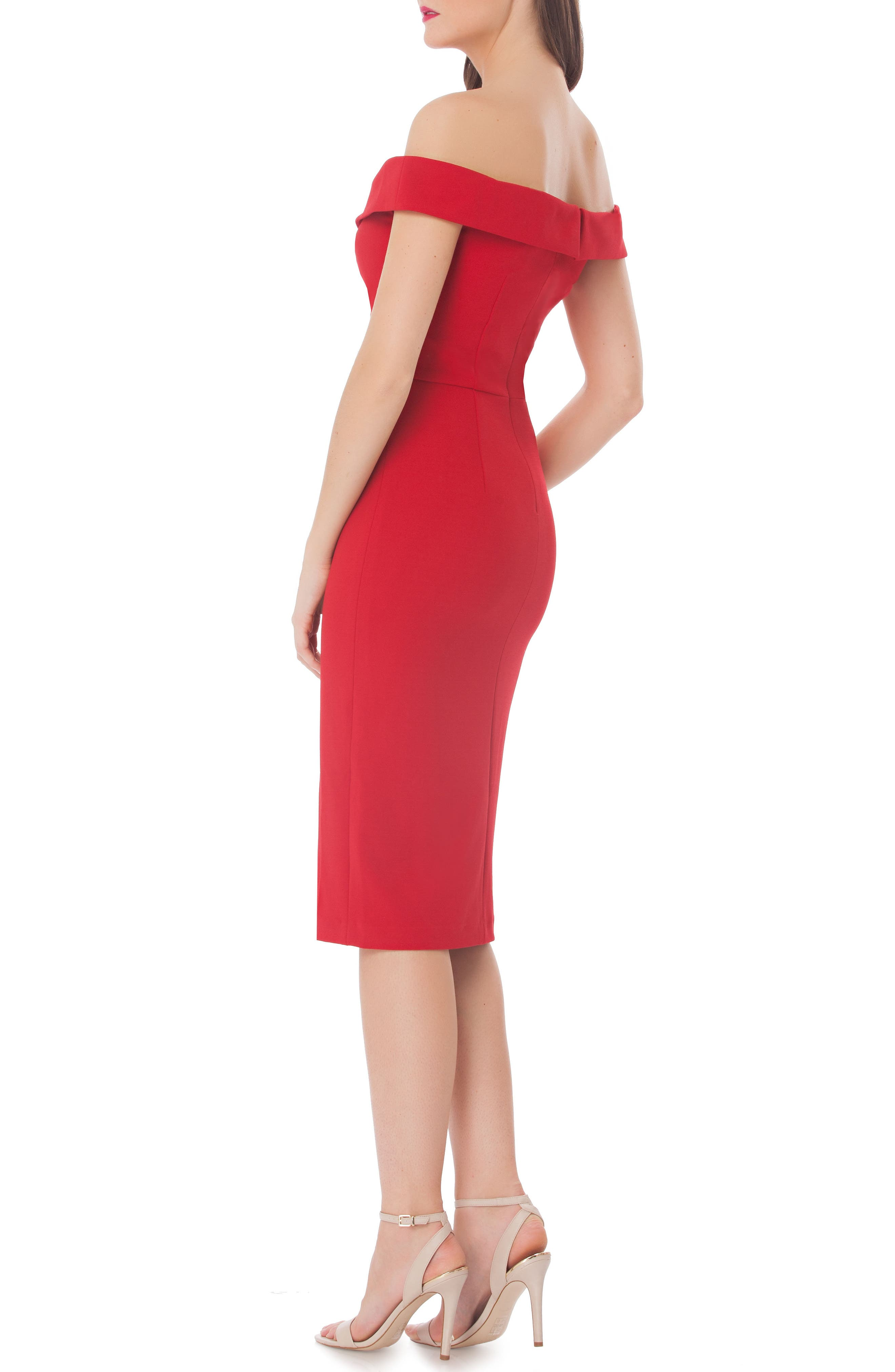 Ruched Off the Shoulder Sheath Dress,                             Alternate thumbnail 2, color,                             Red