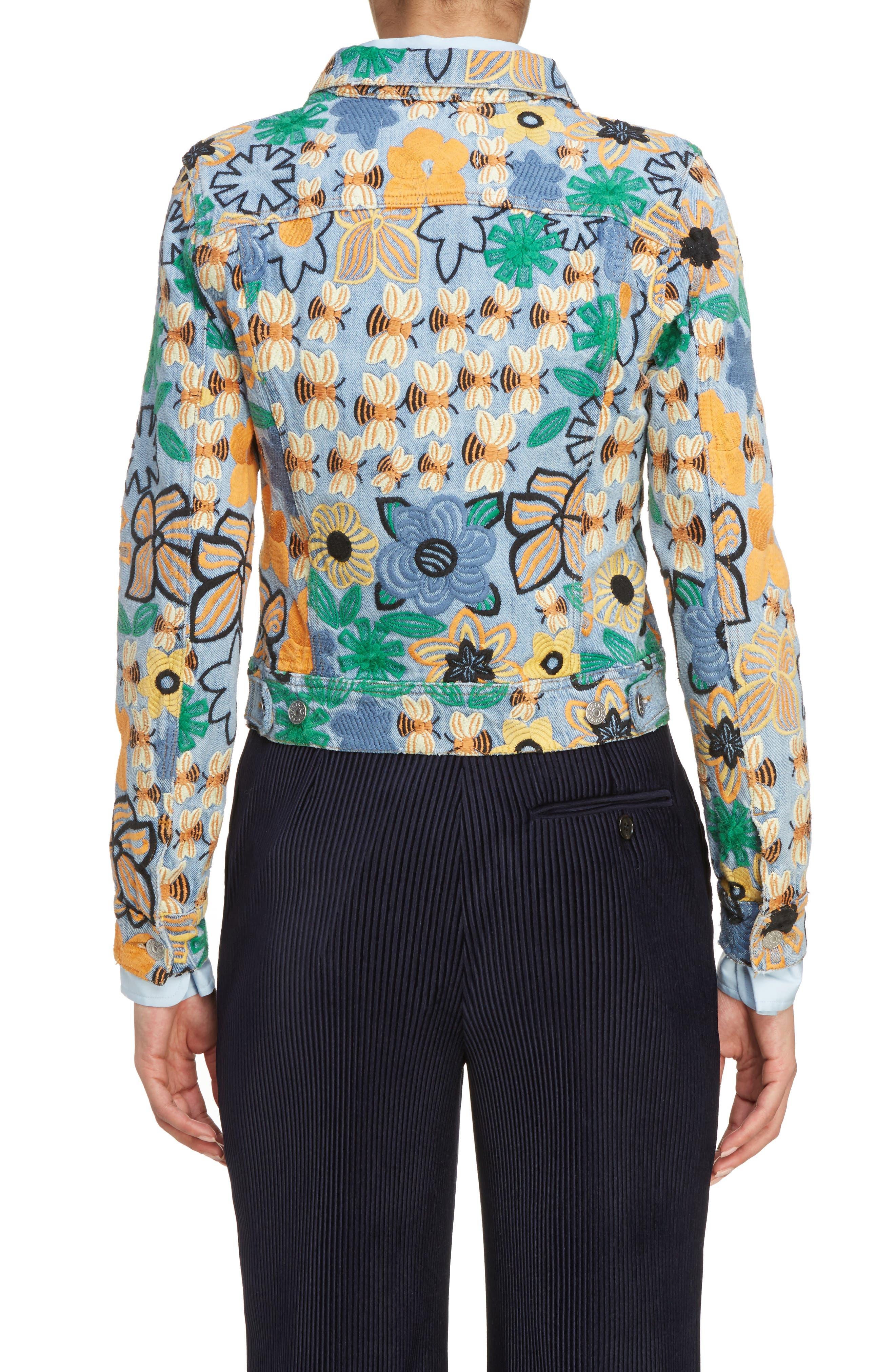 Alternate Image 2  - ACNE Studios Chea Floral Embroidered Crop Denim Jacket