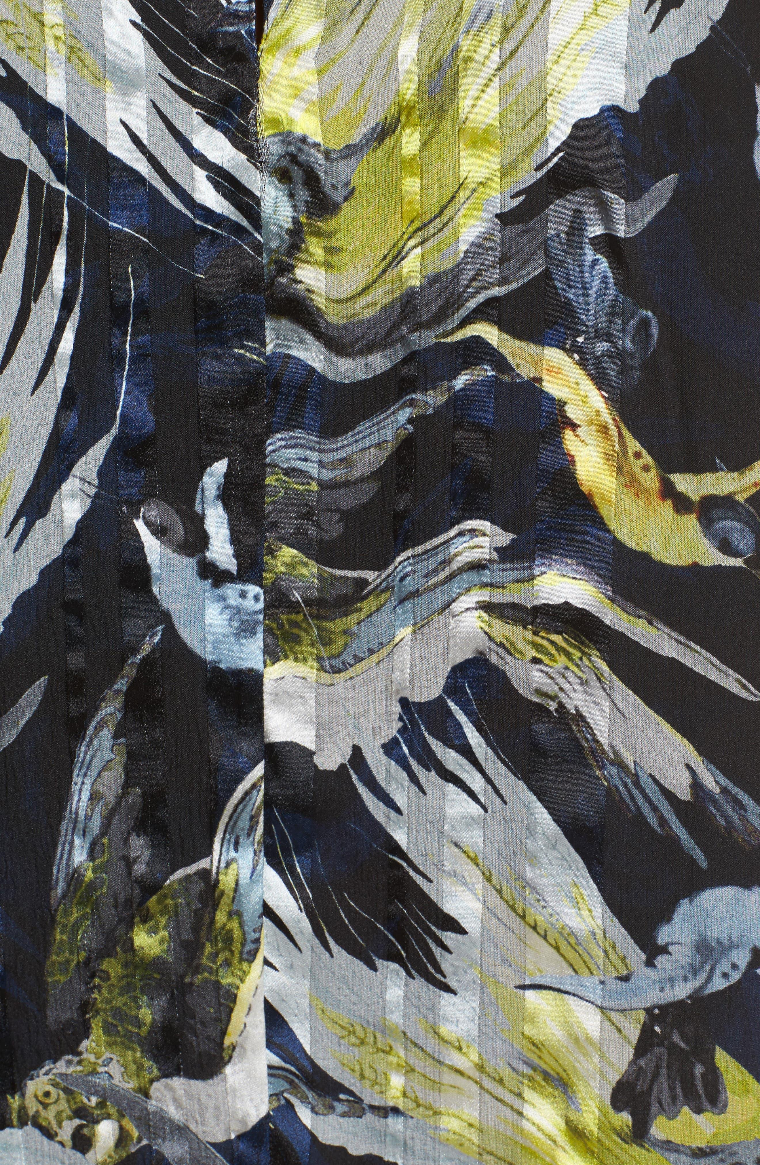 Bird Print Silk Chiffon Blouse,                             Alternate thumbnail 3, color,                             Black/ Yellow