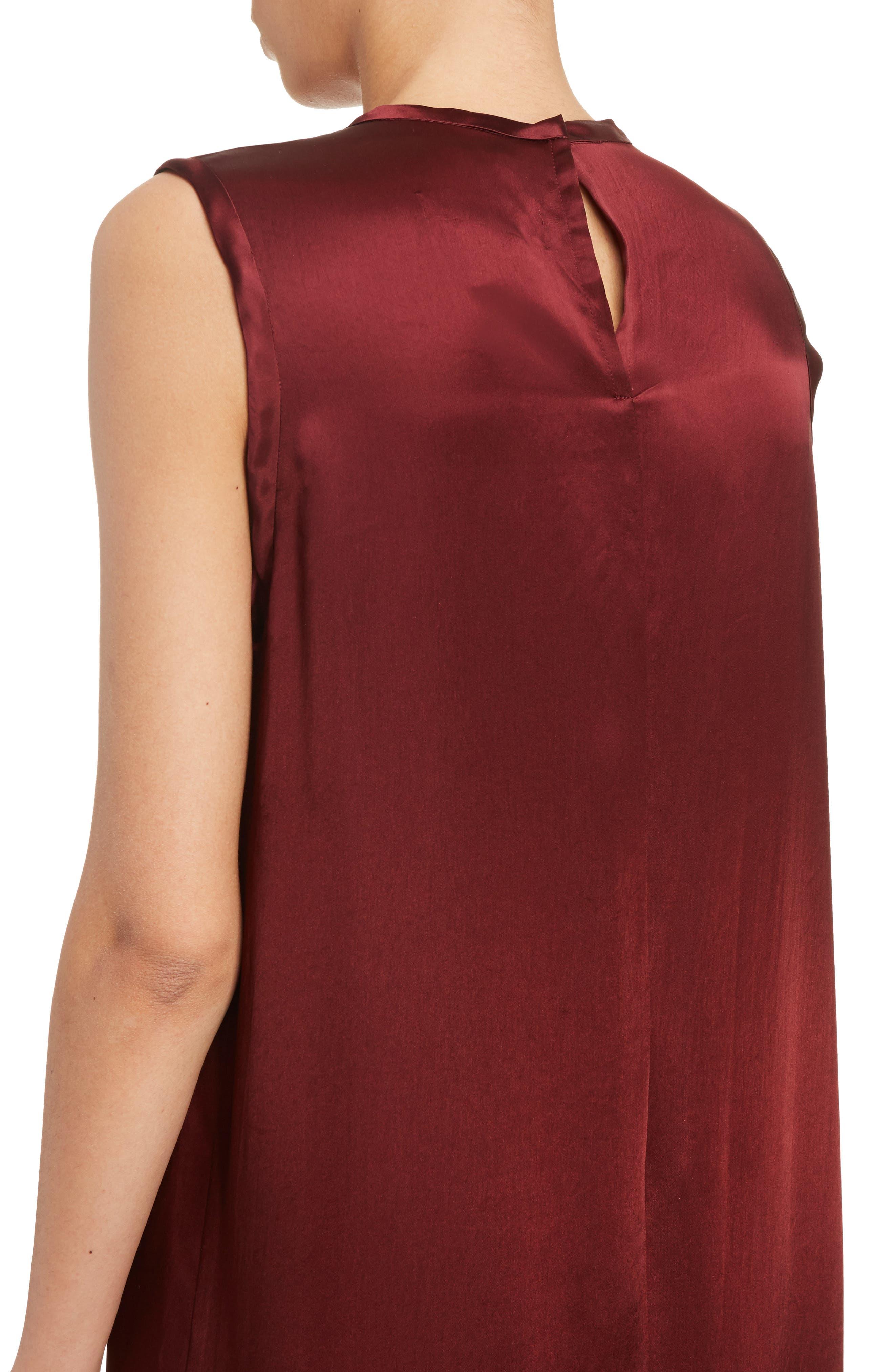 Mock Two-Piece Satin Dress,                             Alternate thumbnail 5, color,                             Dark Red
