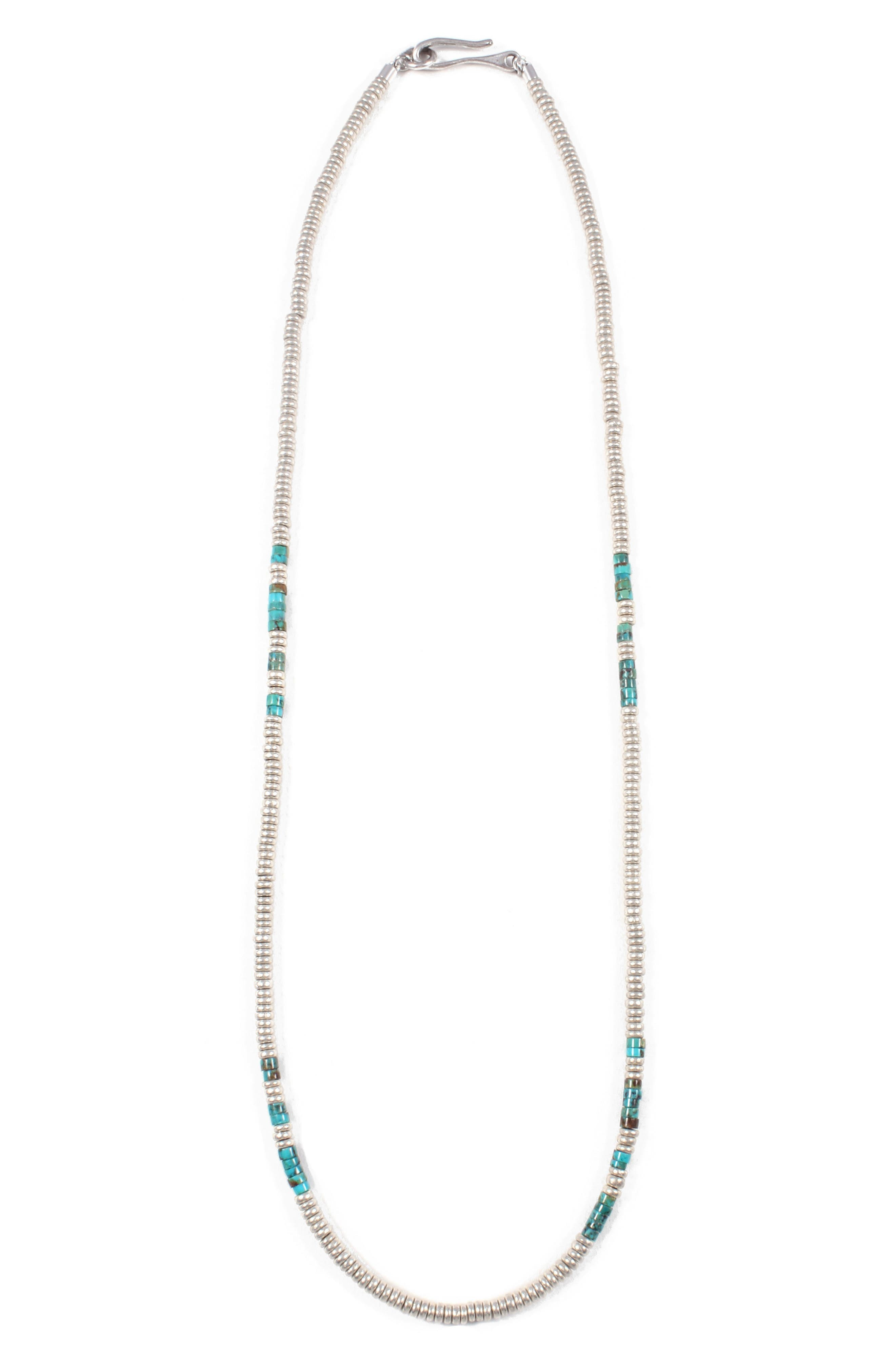 Luck Morse Necklace,                         Main,                         color, Silver / Turquoise