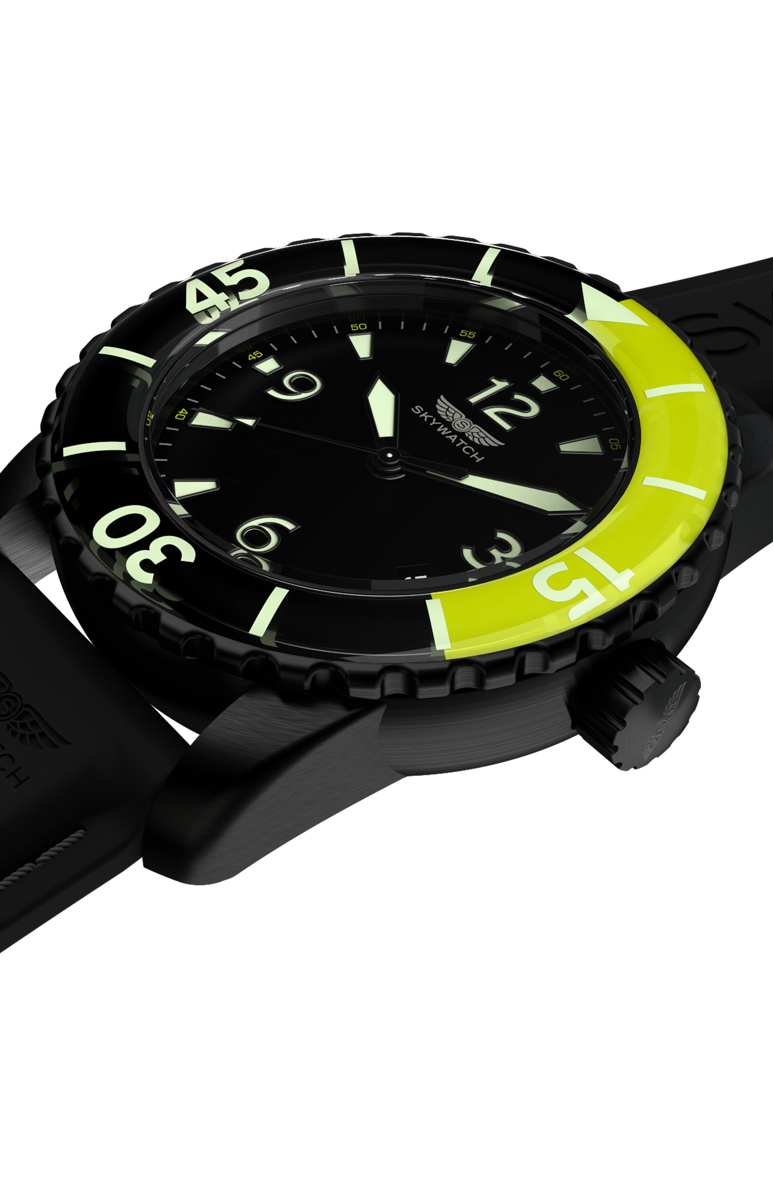 Classic Rubber Strap Watch, 44mm,                             Alternate thumbnail 4, color,                             Black/ Black