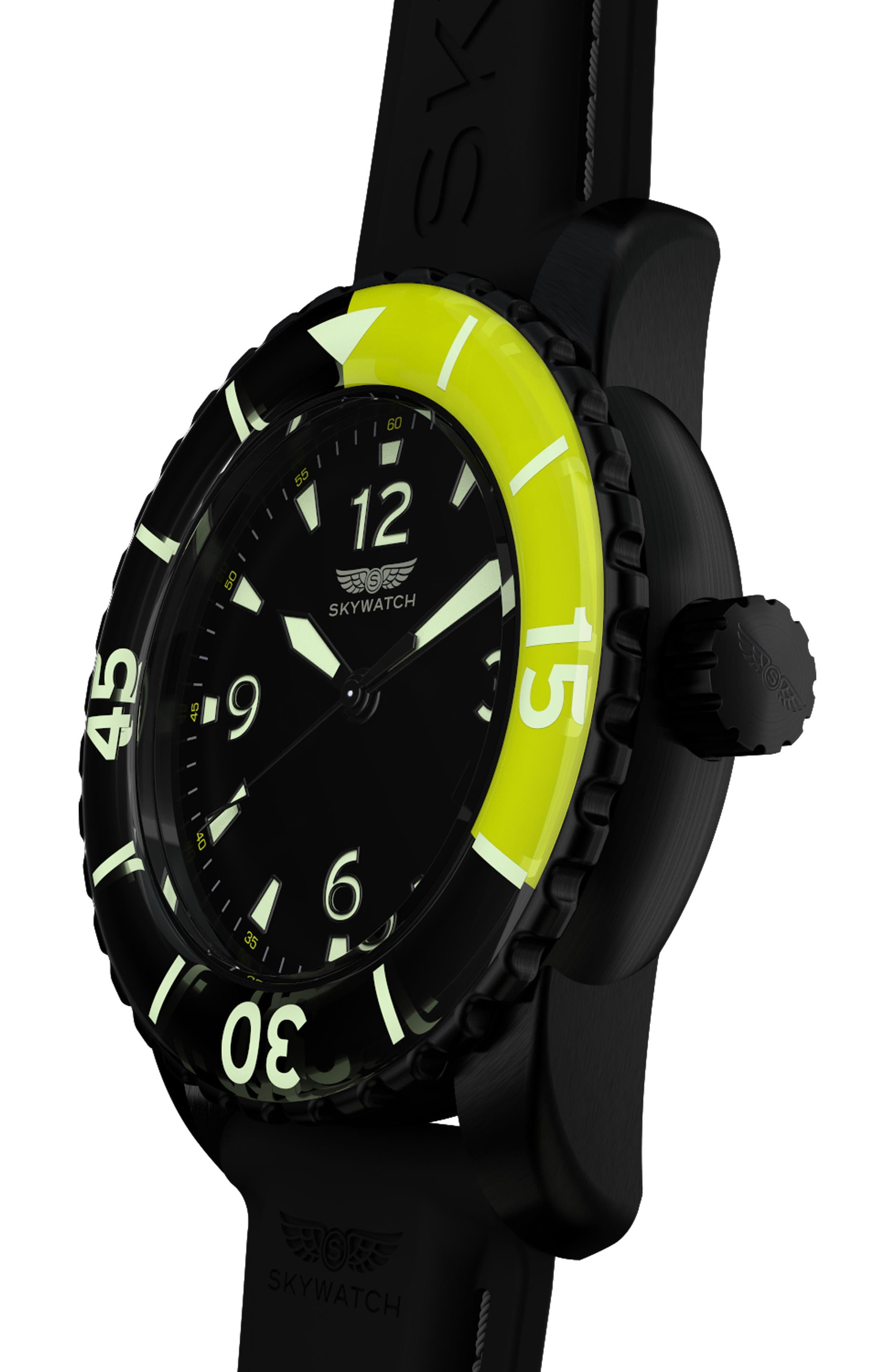 Classic Rubber Strap Watch, 44mm,                             Alternate thumbnail 5, color,                             Black/ Black