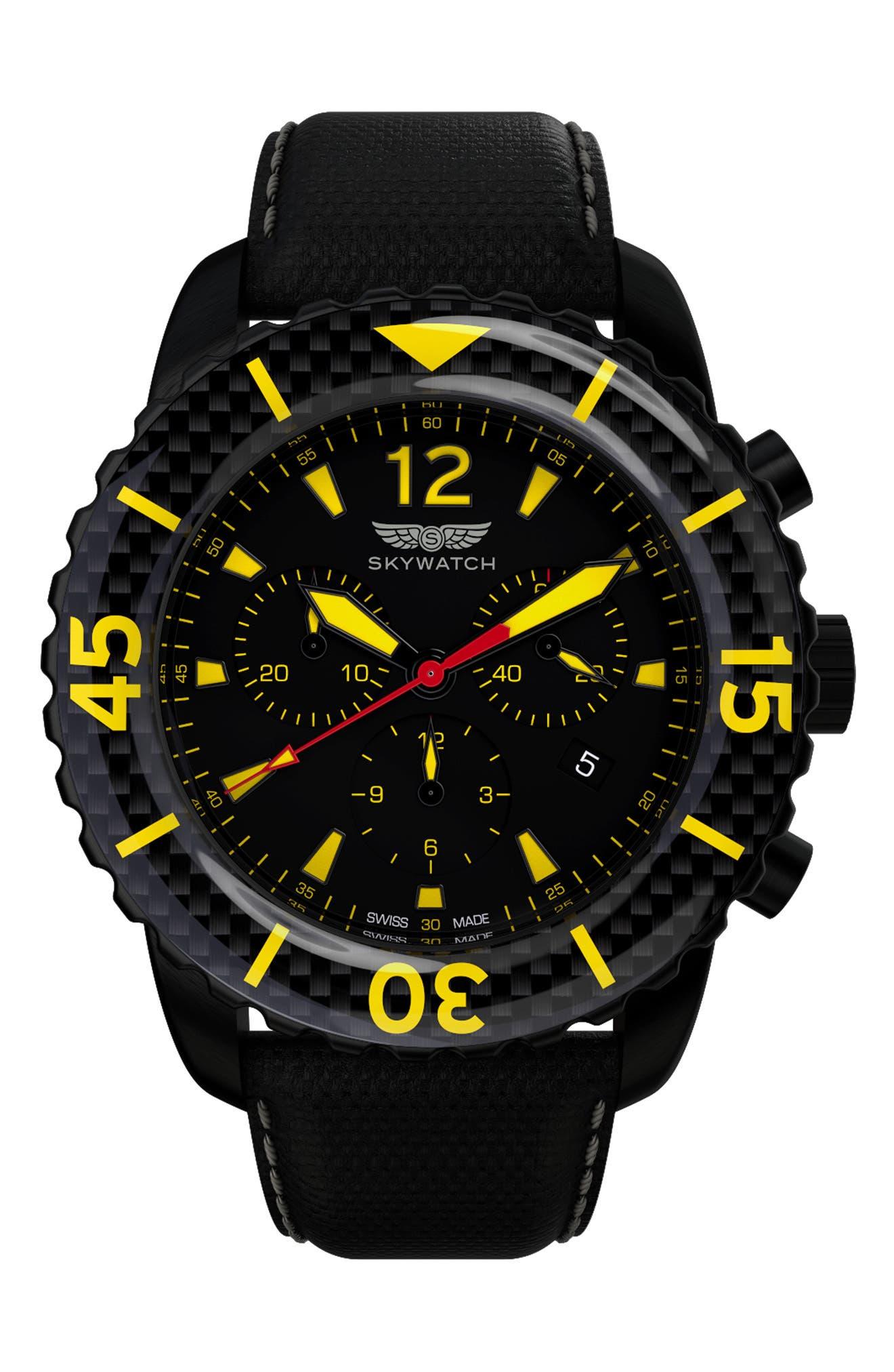 Classic Chronograph Woven Strap Watch, 44mm,                             Main thumbnail 1, color,                             Black/ Black